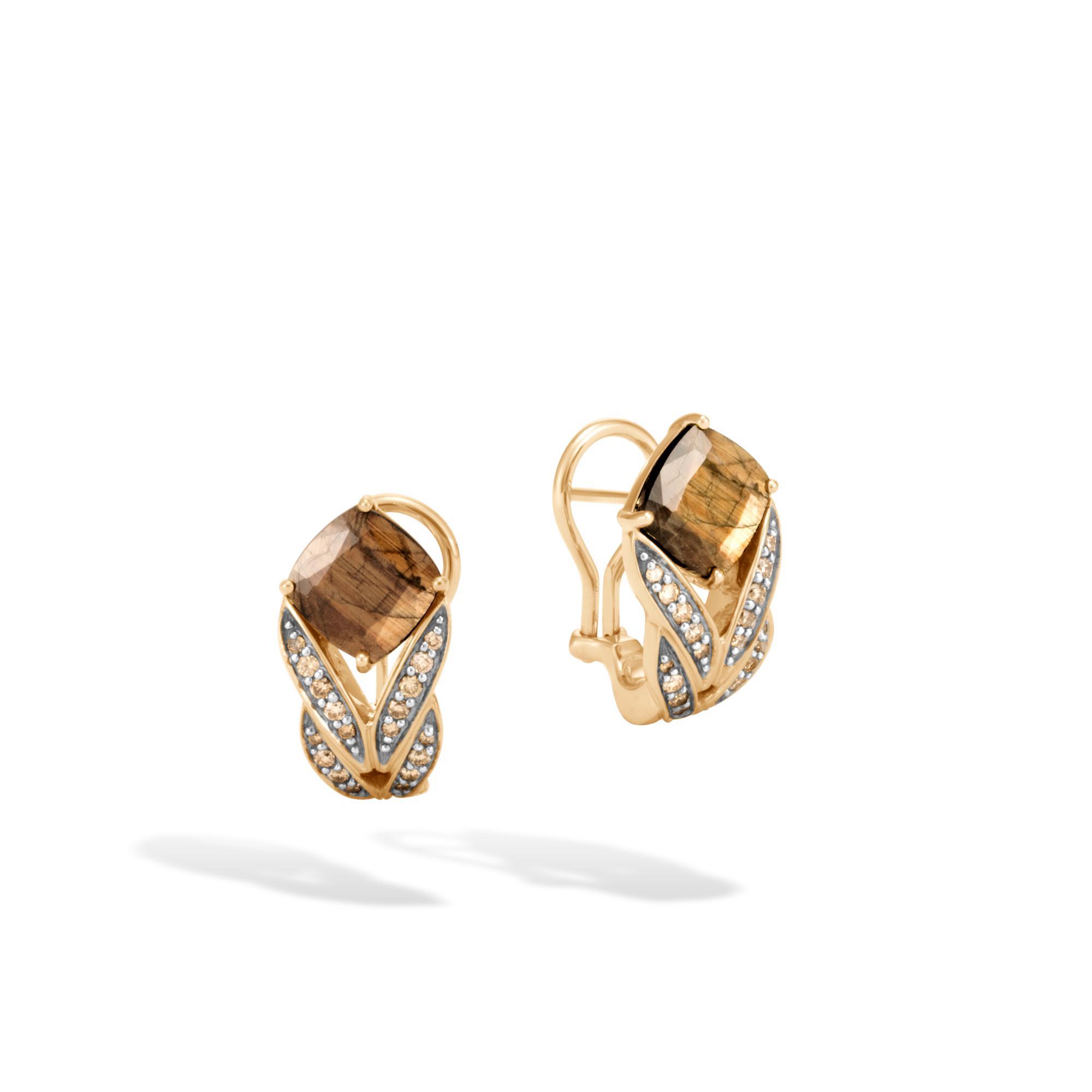 John Hardy Magic Cut Drop Earring, Golden Sheen Sapphire, Champagne Dia Golden sheen sapphire