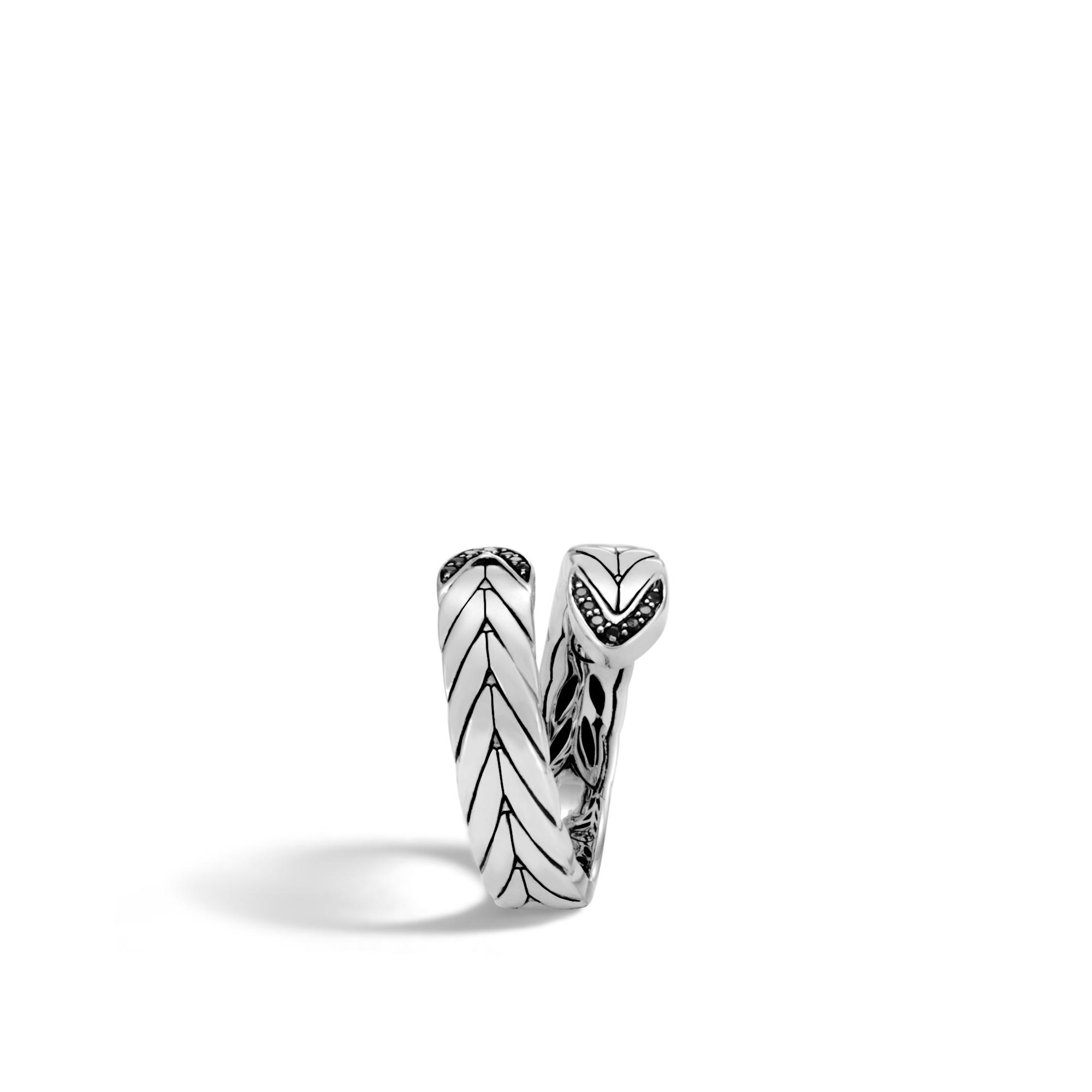 John Hardy Modern Chain Bypass Ring With Black Spinel E264Ao3v