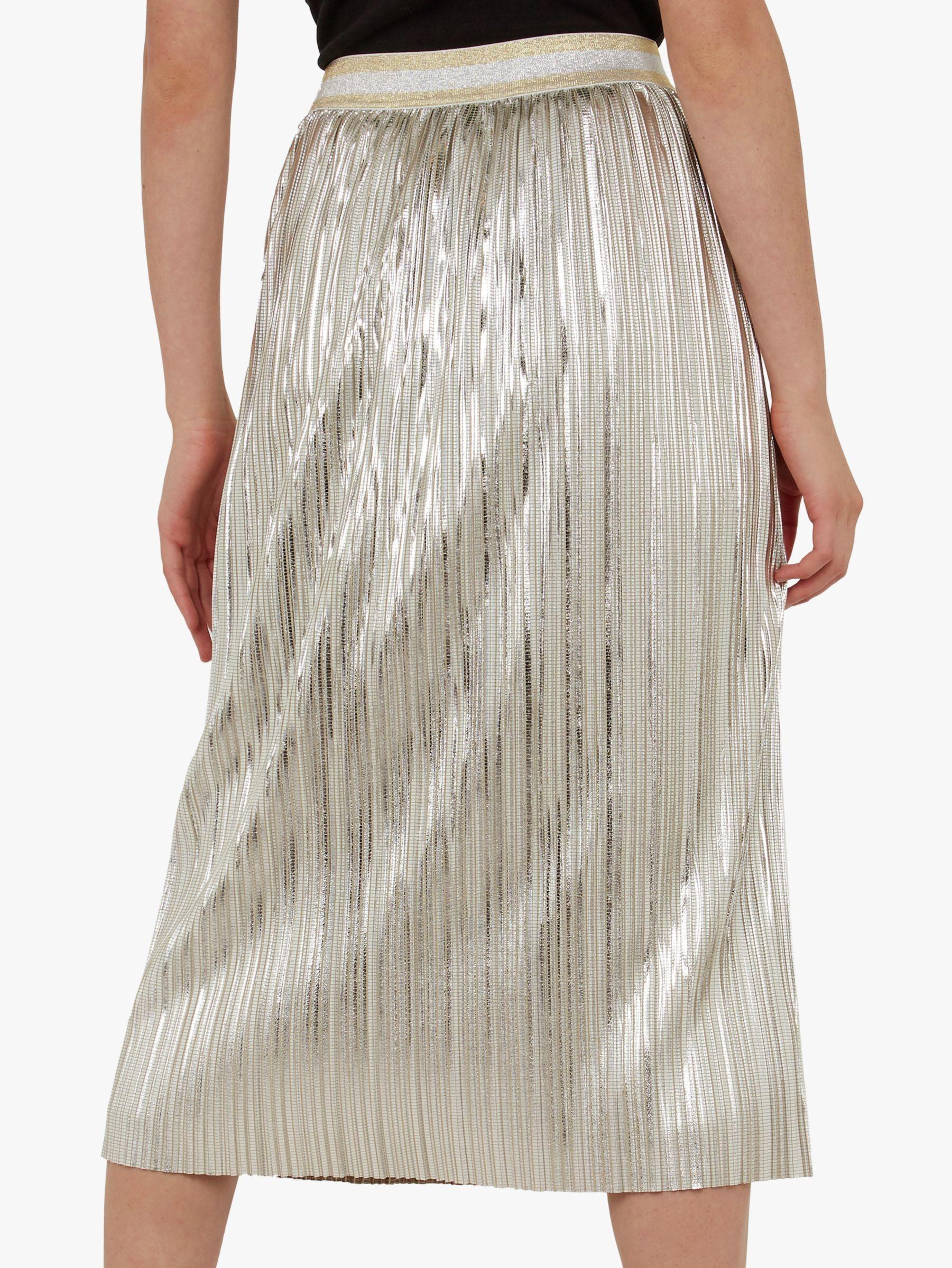 5b272e8073 Ted Baker Ariana Metallic Pleated Midi Skirt in Gray - Lyst