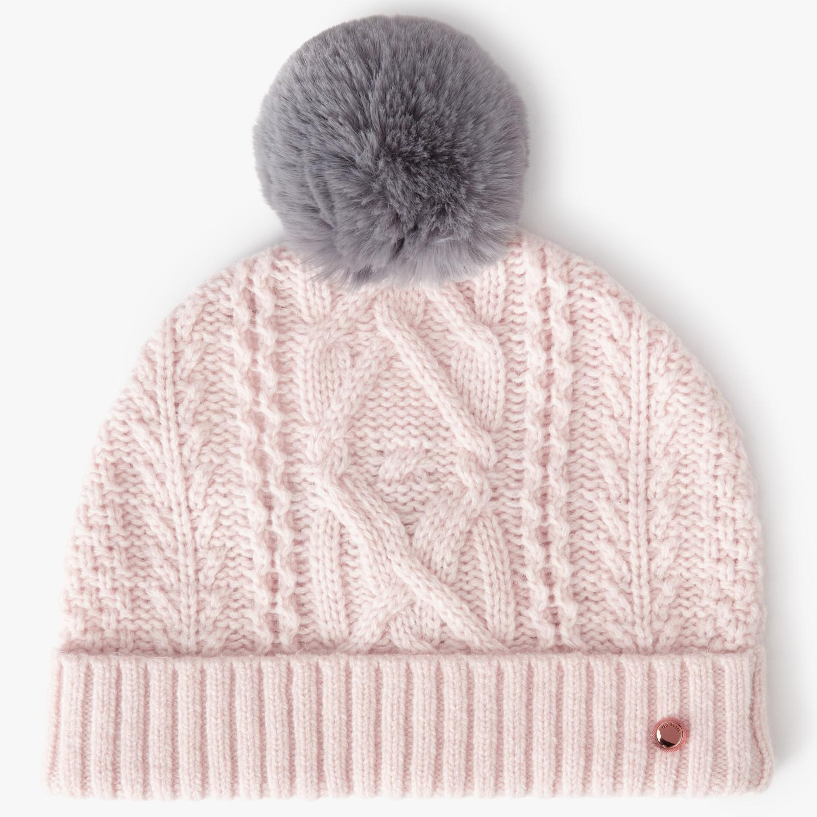 e347ba03262 Ted Baker Kyliee Faux Fur Pom Hat in Pink - Lyst