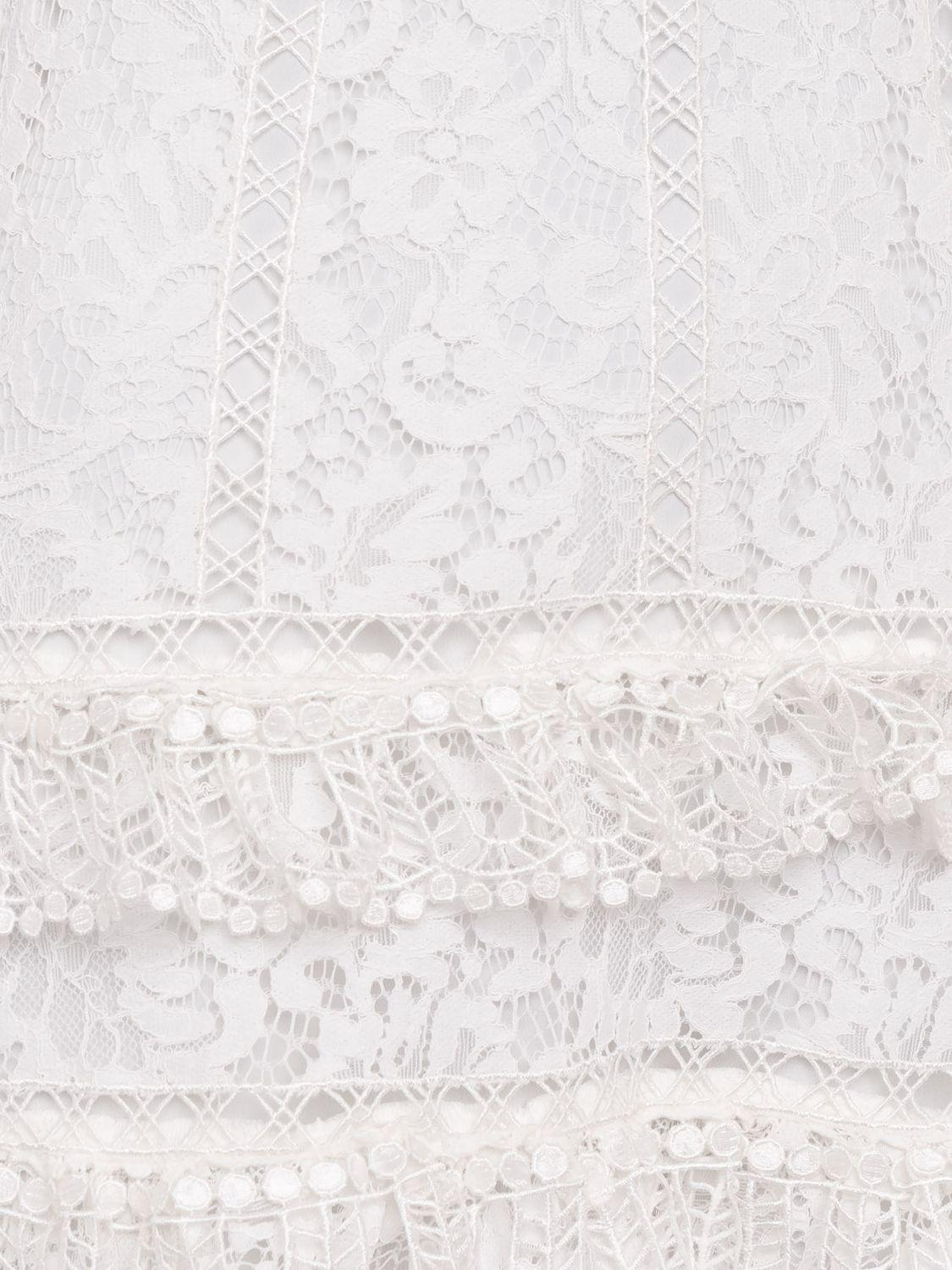 6ca8b948a67 French Connection Arta Lace Ruffle Dress in White - Lyst