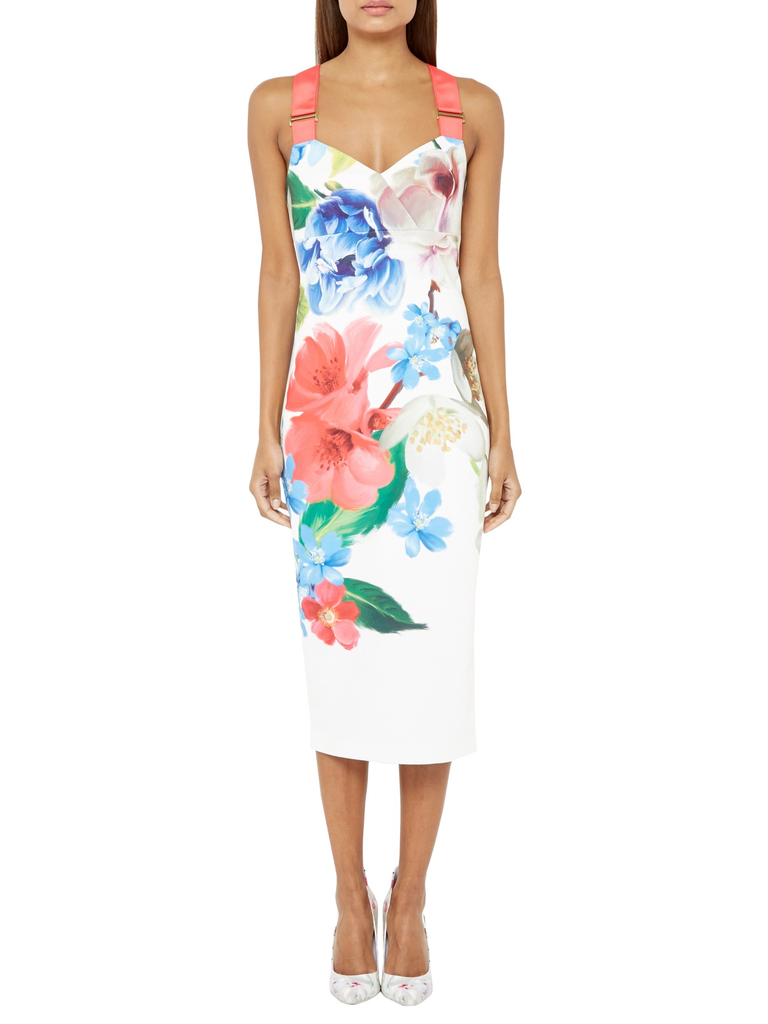 Ted Baker Alexie Forget Me Not Midi Dress In White Lyst