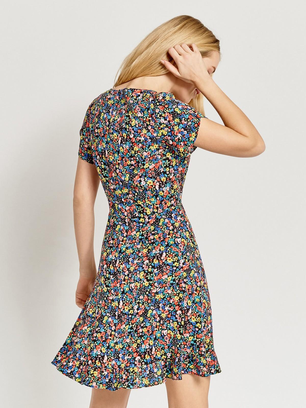 OASIS Ditsy Frill Hem Skater Multi  Floral Printed Dress