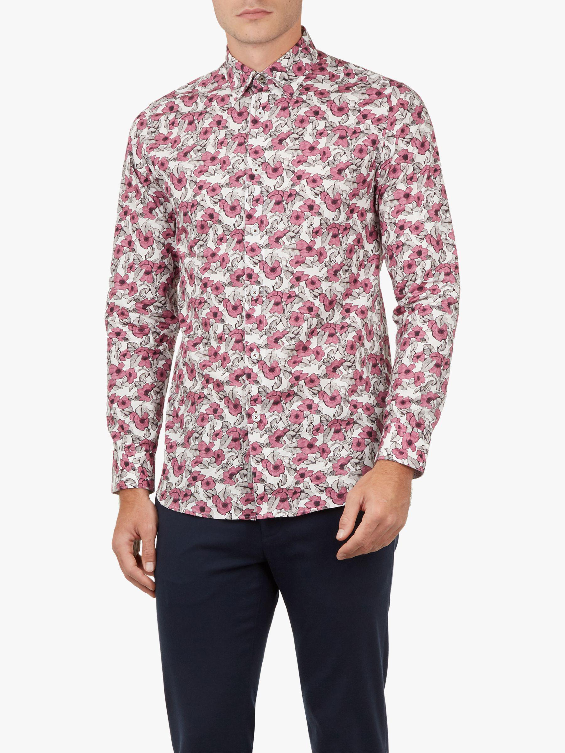 07616afe5 Ted Baker Croydon Long Sleeve Floral Shirt in Pink for Men - Lyst