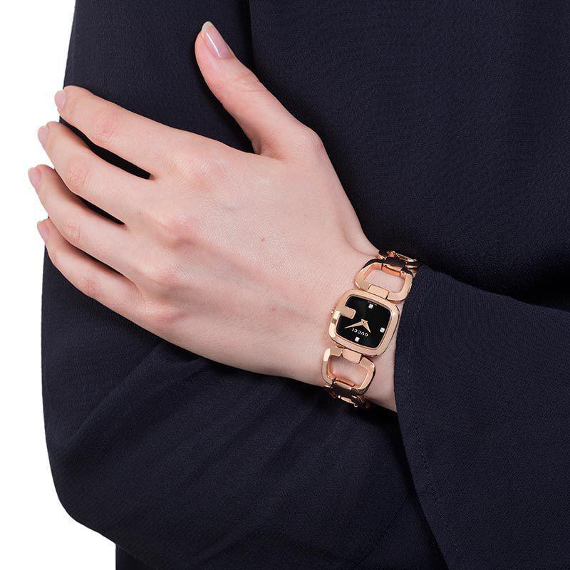 0fd5bd34f5b Gucci Ya125512 Womens G- Diamond Open Bracelet Strap Watch in Pink ...