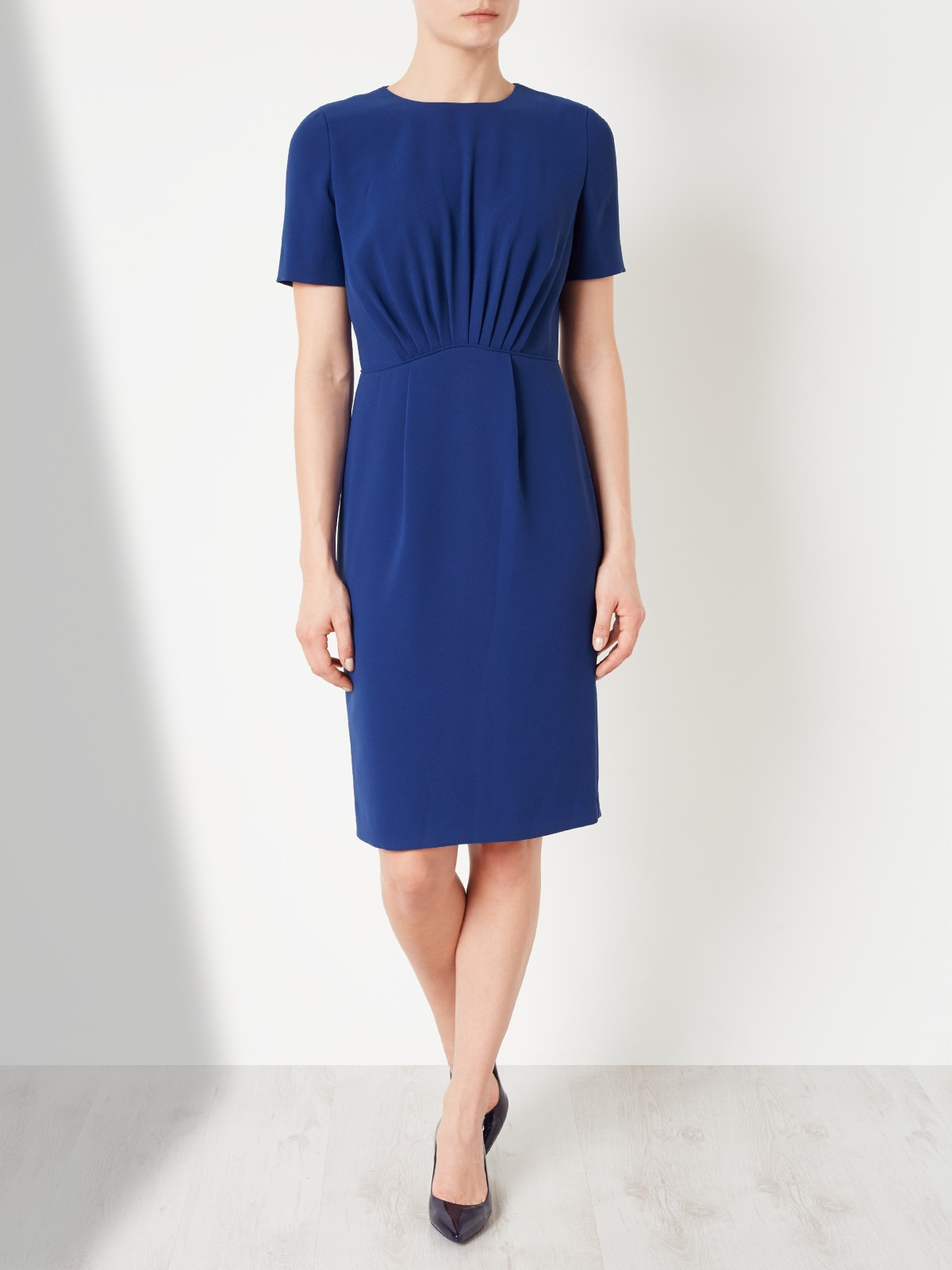 lewis front pleated dress in blue lyst
