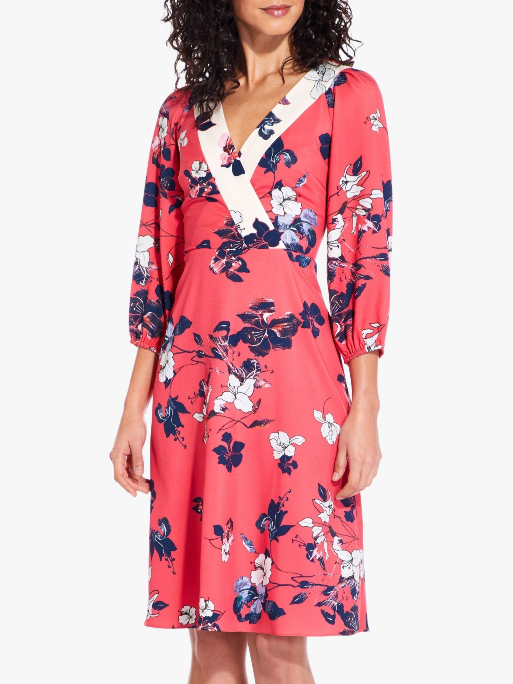 f195af424f1 Adrianna Papell Floral Print Surplice V-neck A-line Dress in Red - Lyst