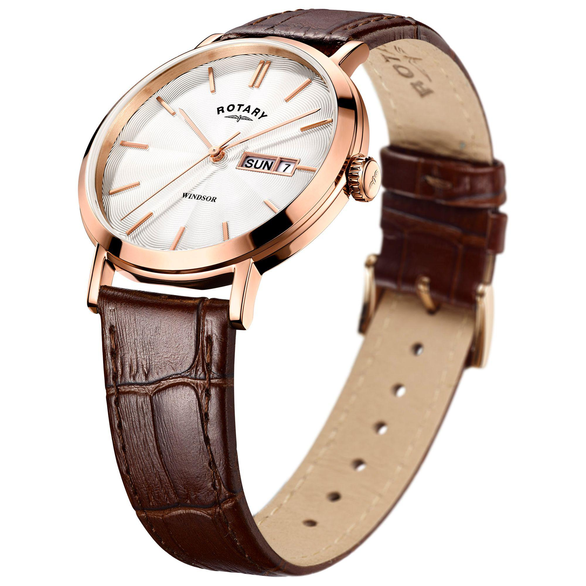 bdd1c8c0a088c John Lewis Rotary Gs05304 02 Men s Windsor Day Date Leather Strap ...