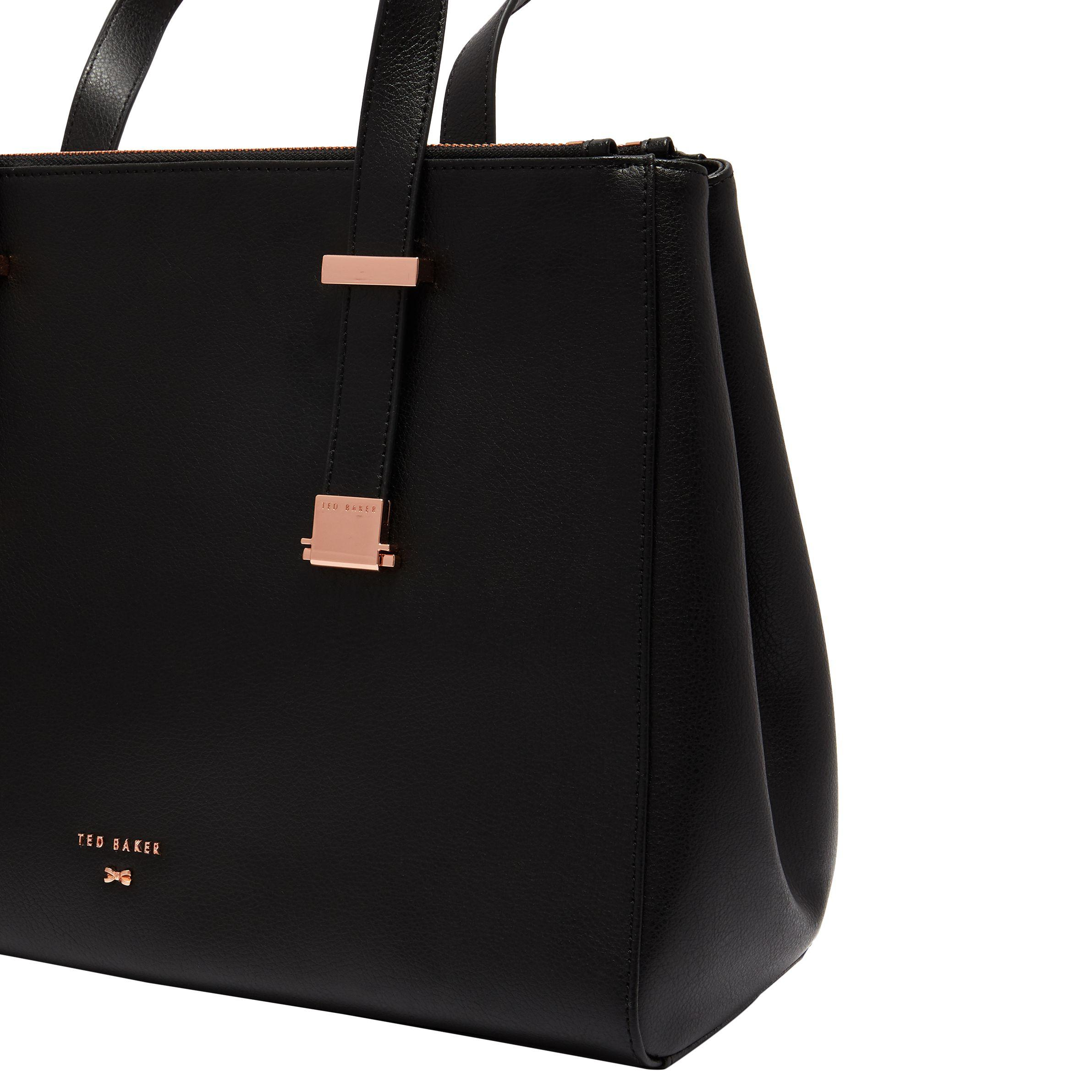 8cda8dfaa5 Ted Baker Aminaa Large Leather Tote Bag in Black - Lyst