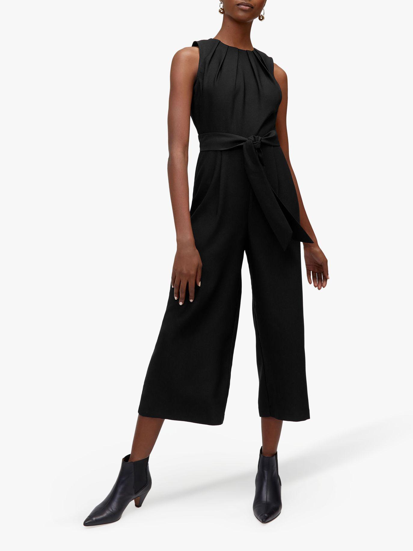c7e695ee42b3 Warehouse Gathered Tie Waist Jumpsuit in Black - Lyst