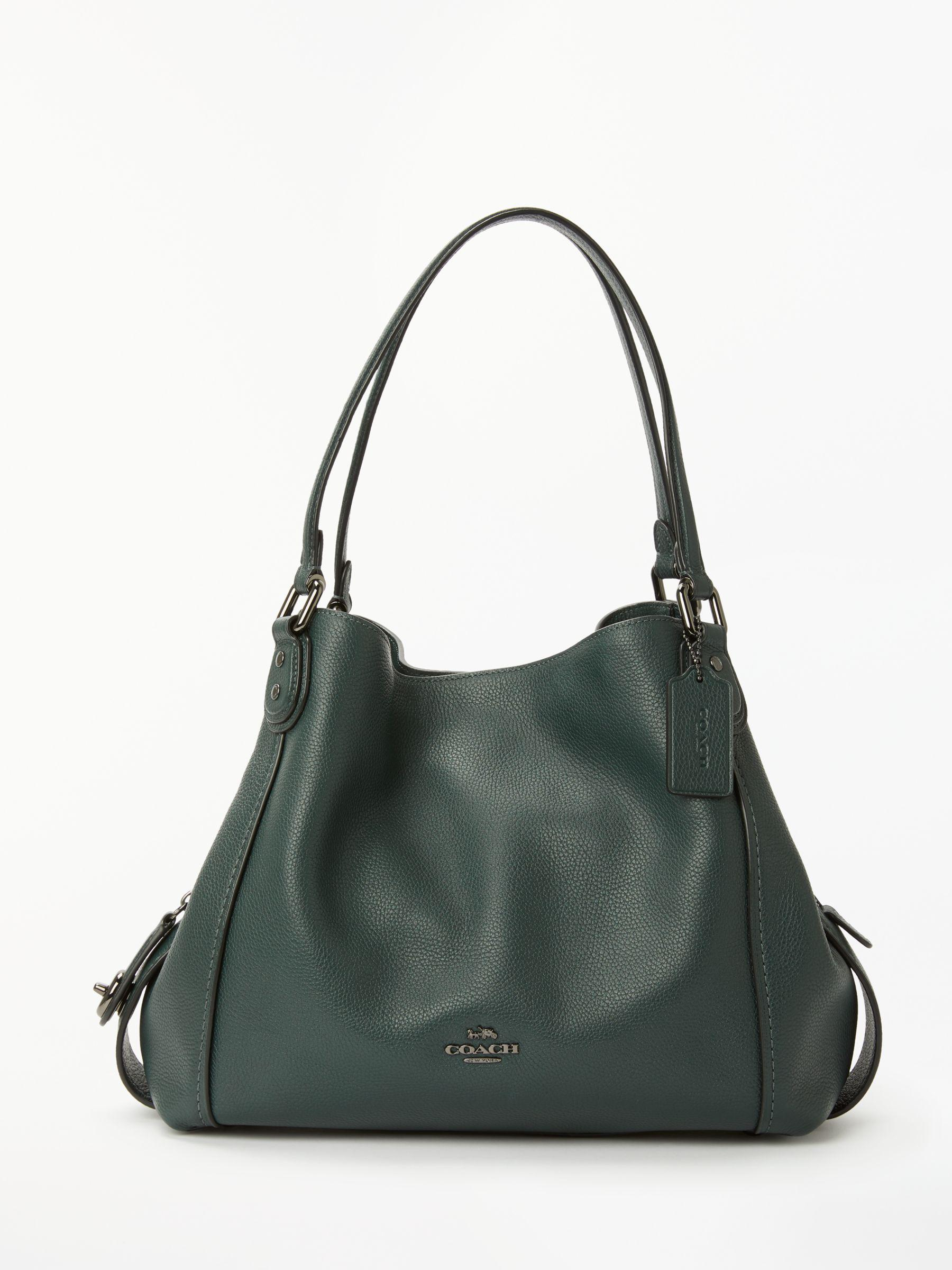 COACH Edie 31 Polished Pebble Leather Shoulder Bag in Green - Lyst c49c0322bba6d