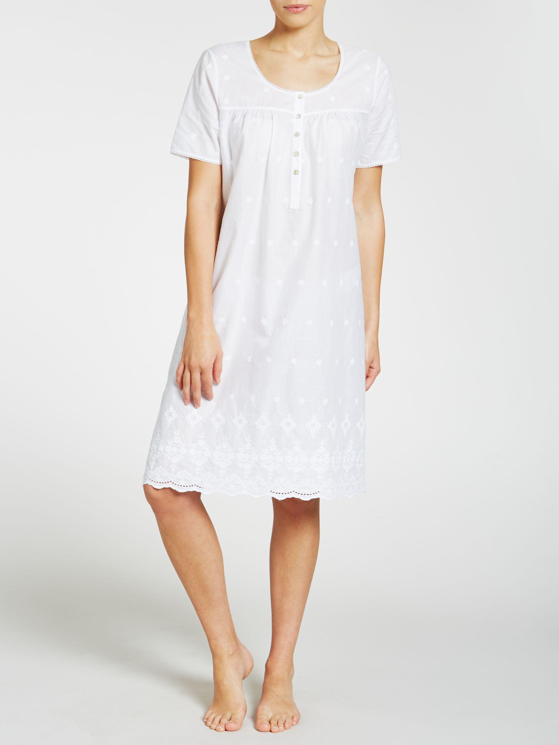 a92c95cdf5 John Lewis Broderie Anglaise Short Sleeve Nightdress in White - Lyst