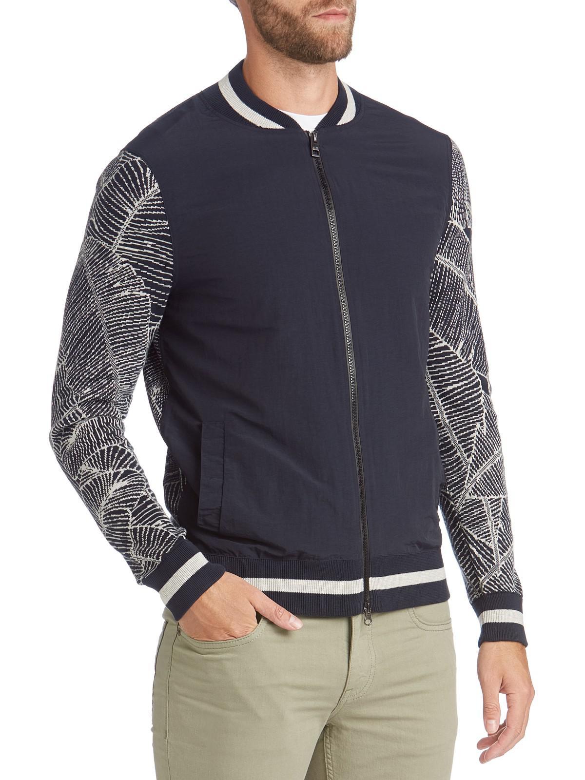 lyst boss boss kamity contrast sleeve zipped sweatshirt. Black Bedroom Furniture Sets. Home Design Ideas