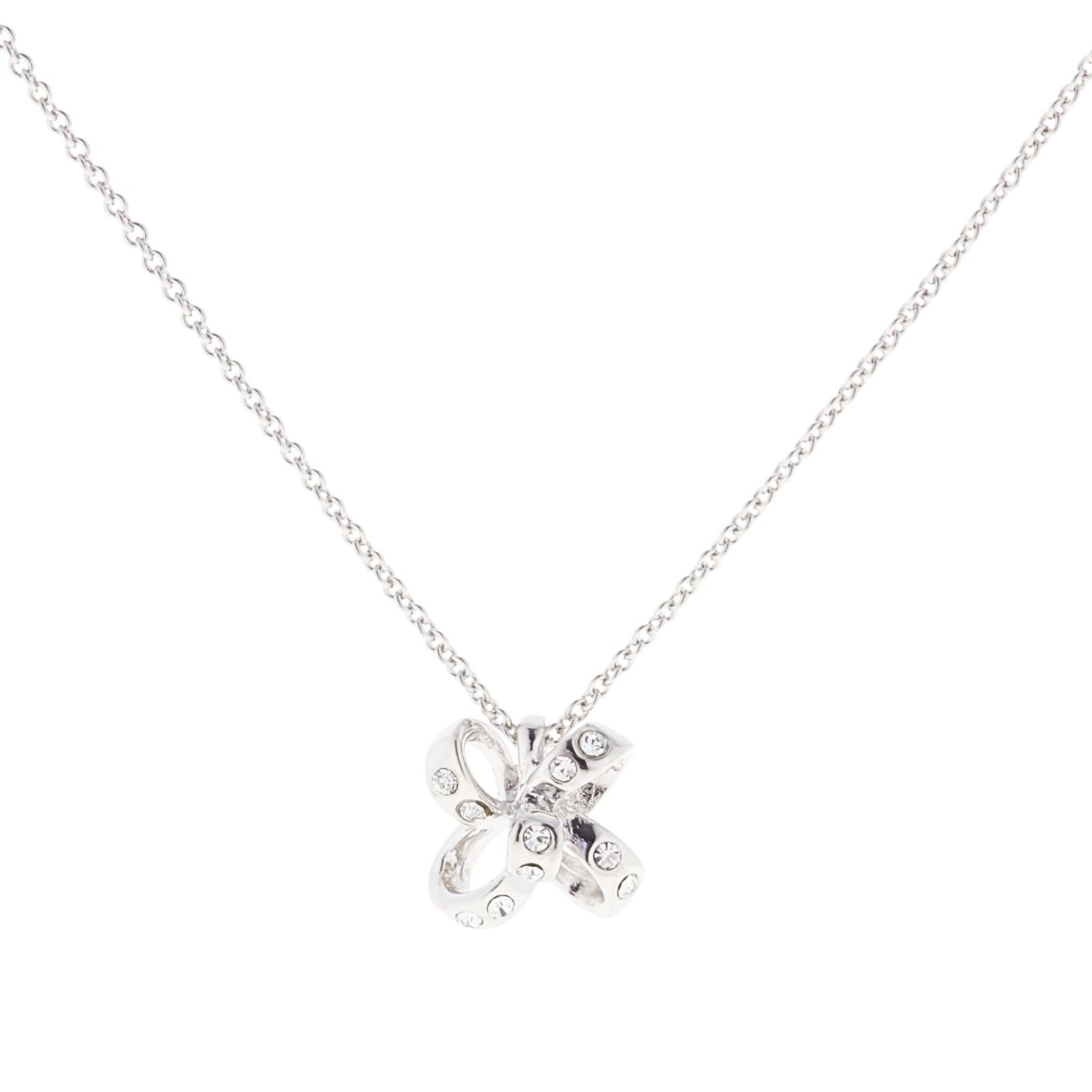 Kate Spade Crystal Mini Bow Pendant Necklace in Metallic