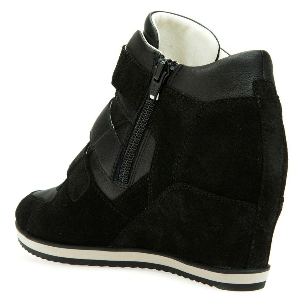 9a823bb007 Geox Women's Illusion Hidden Wedge Trainers in Black - Lyst