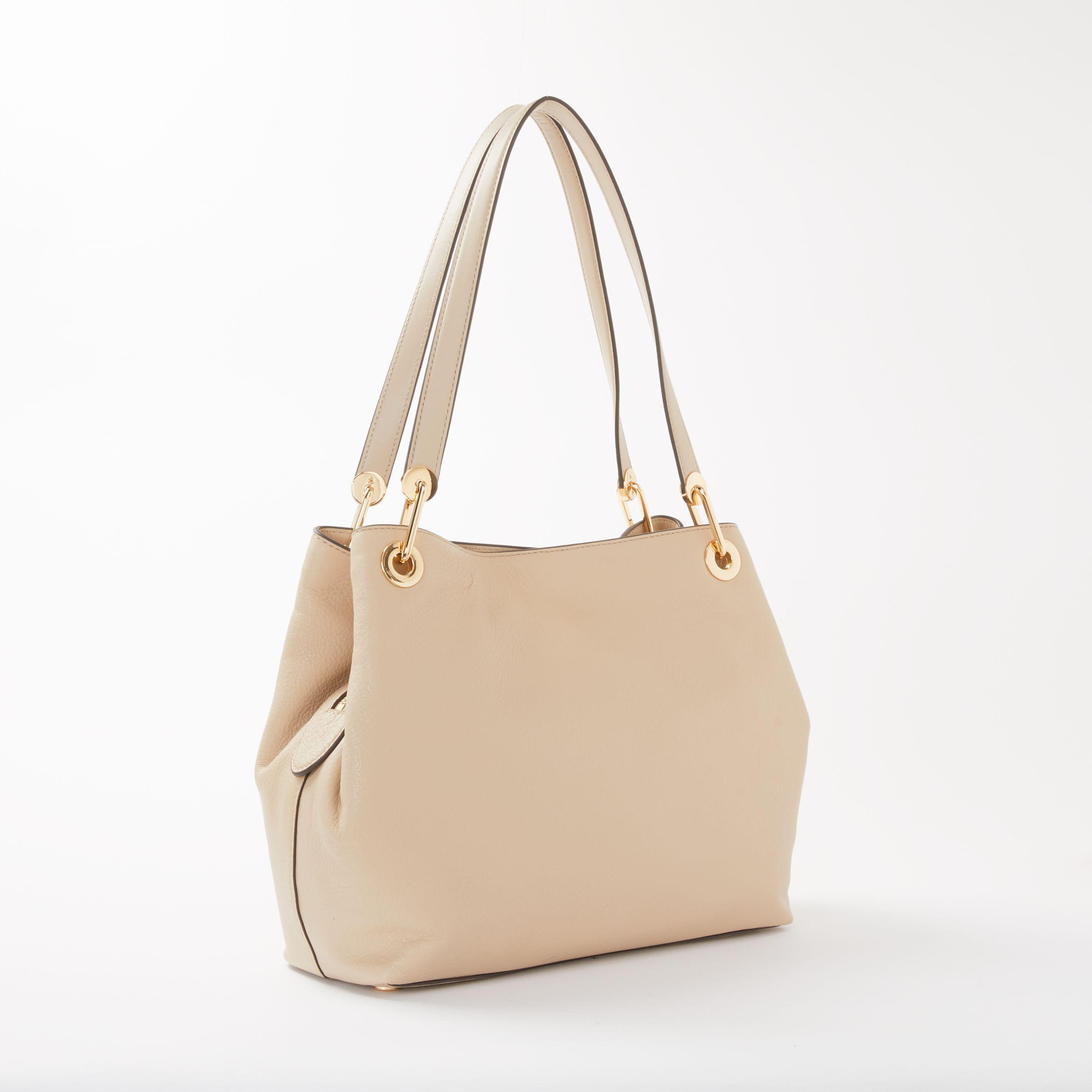 9054a6c0400b Michael Kors Michael Raven Leather Large Shoulder Bag in Natural - Lyst