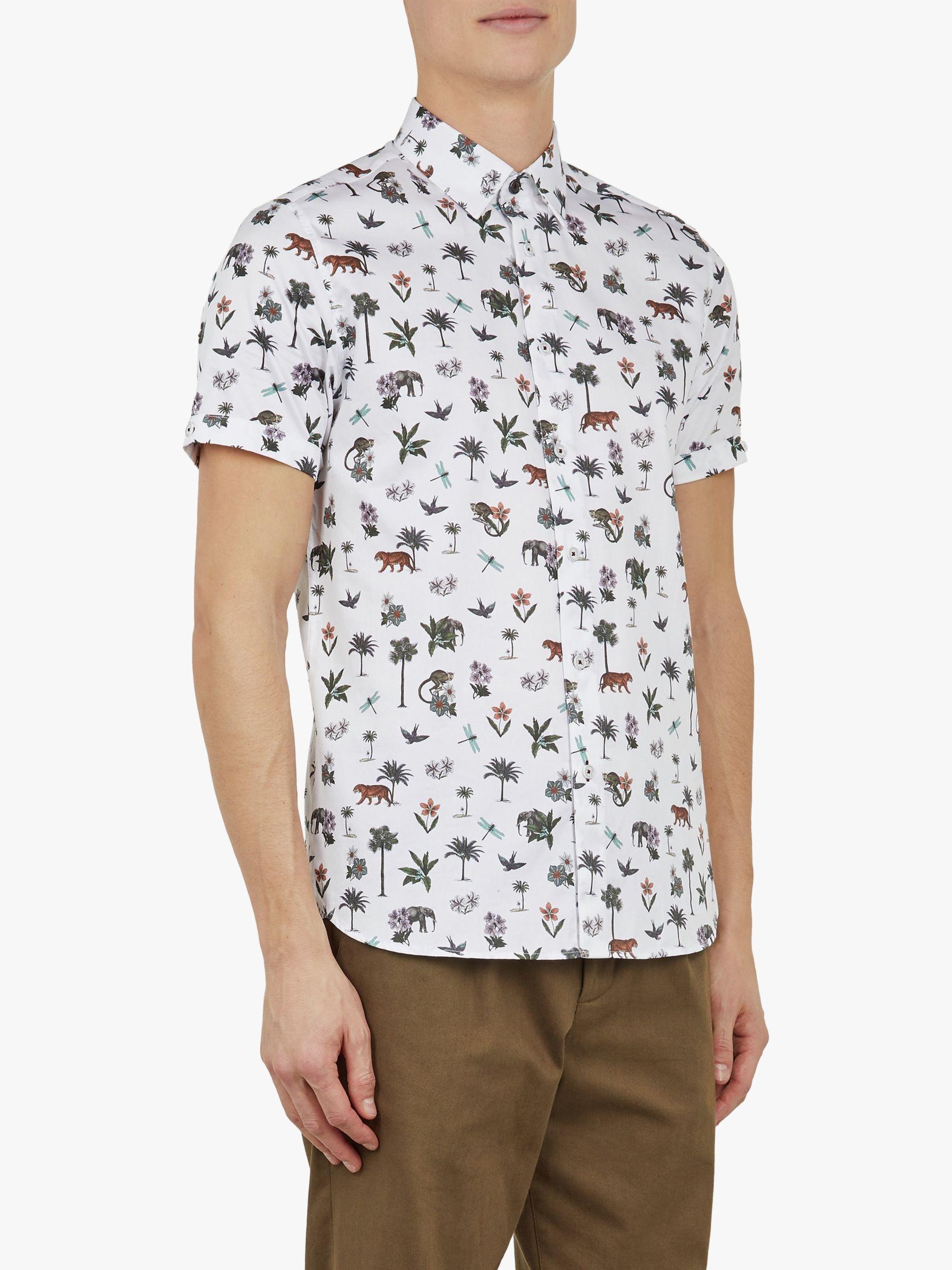 06670a4f400d Ted Baker Dolfin Jungle Print Shirt in White for Men - Lyst