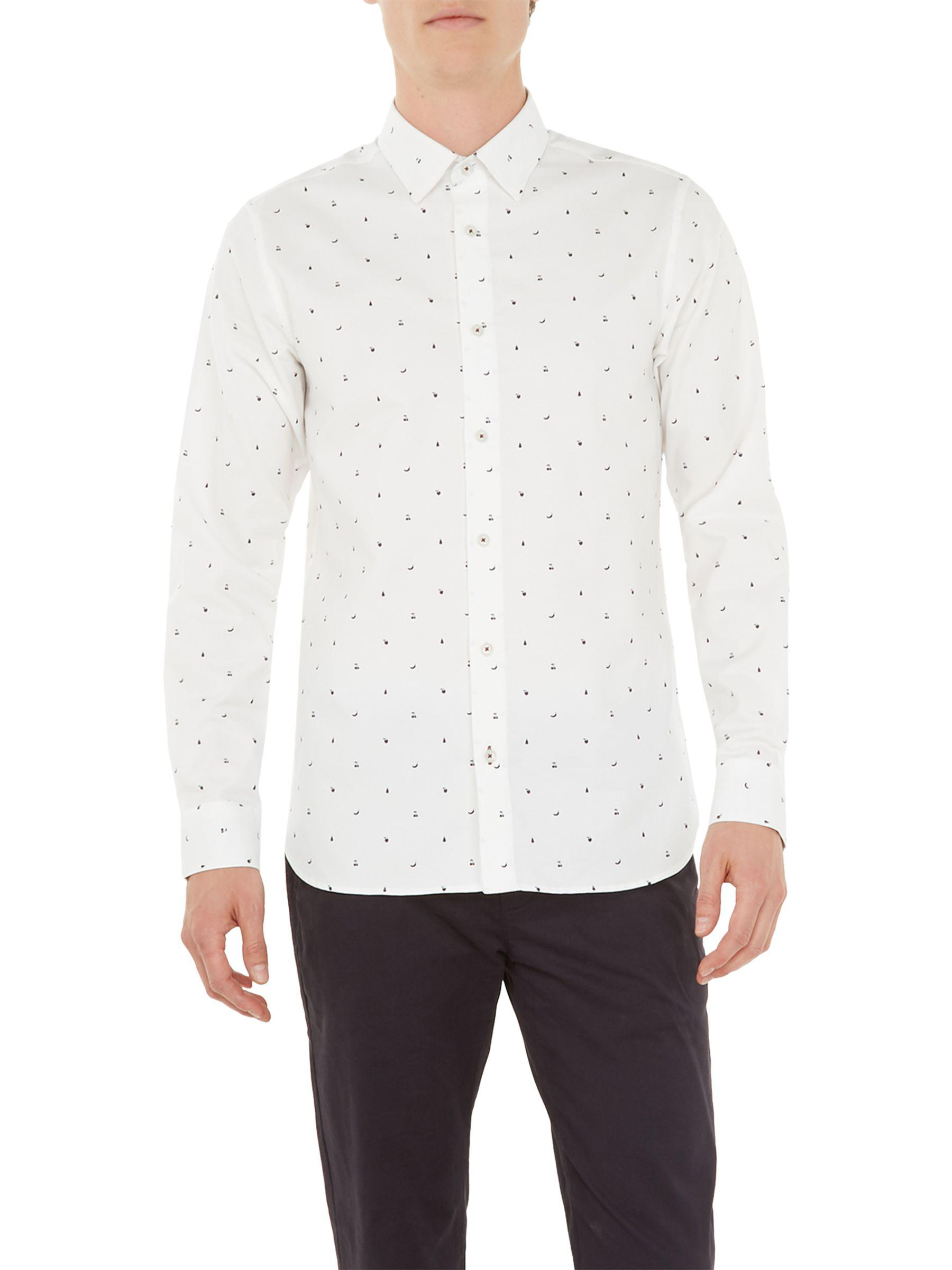 2f4d2e841 Ted Baker Fruit Fruts Long Sleeve Shirt in White for Men - Save 40.0 ...