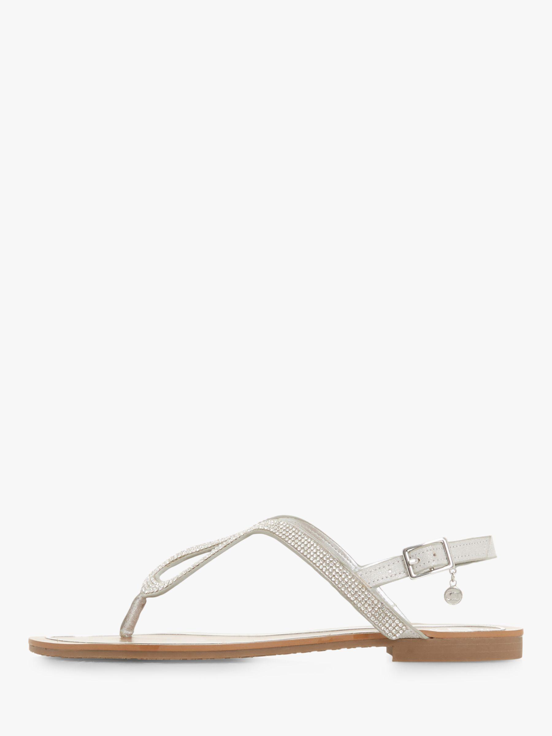 c65672d86 Dune Linay Diamante Flat Sandals in Metallic - Lyst