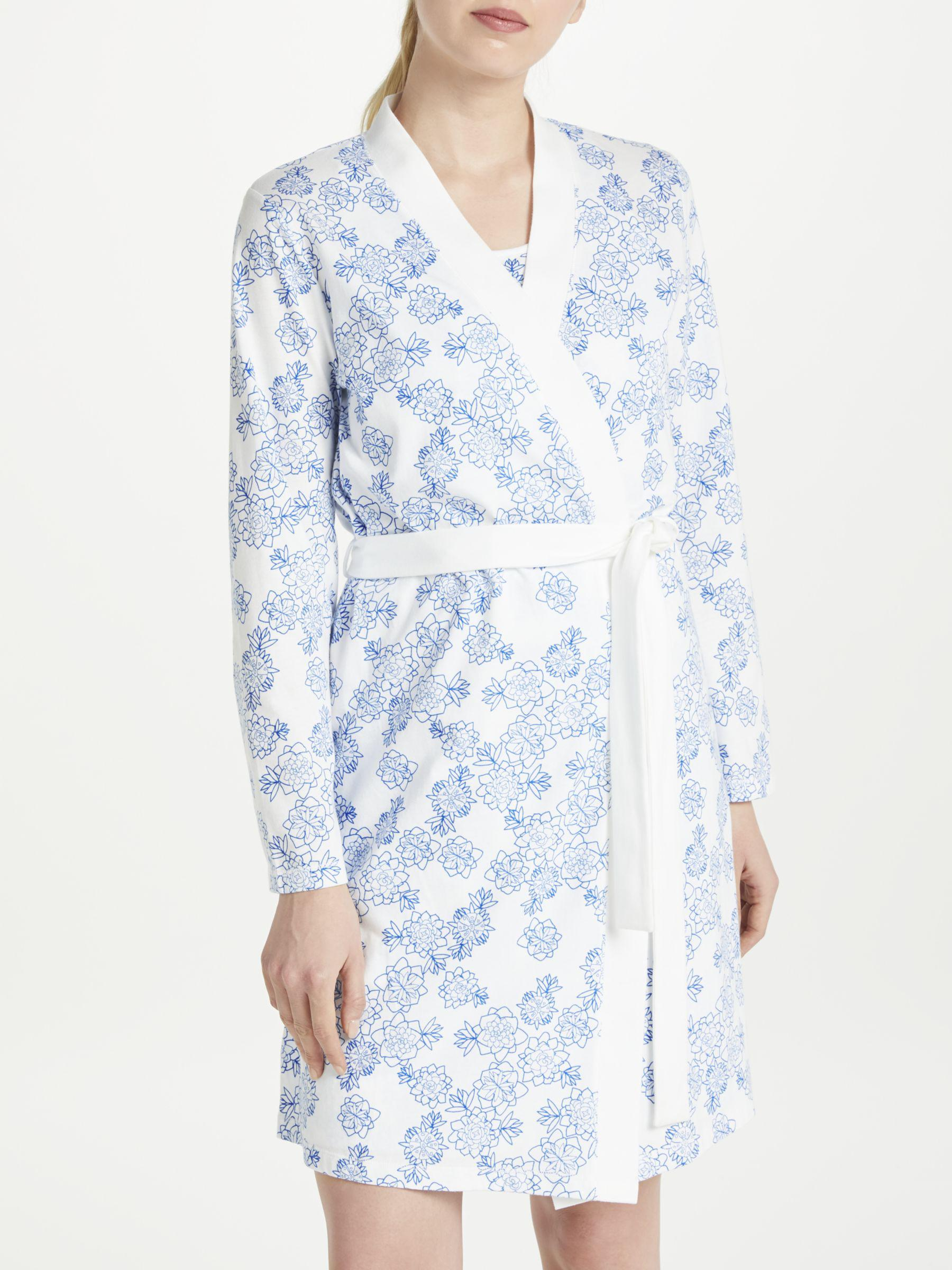 3efda1cc595 John Lewis Melissa Floral Print Cotton Jersey Dressing Gown in Blue ...