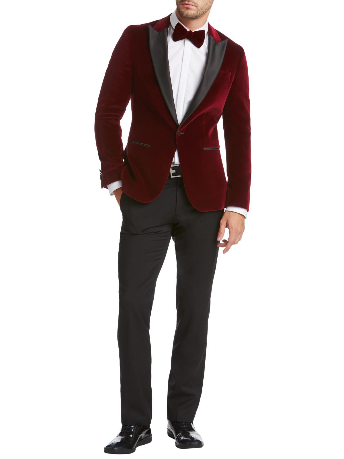 9ce652ac6a66 BOSS Hugo By Chadly Velvet Slim Fit Dress Jacket in Red for Men - Lyst