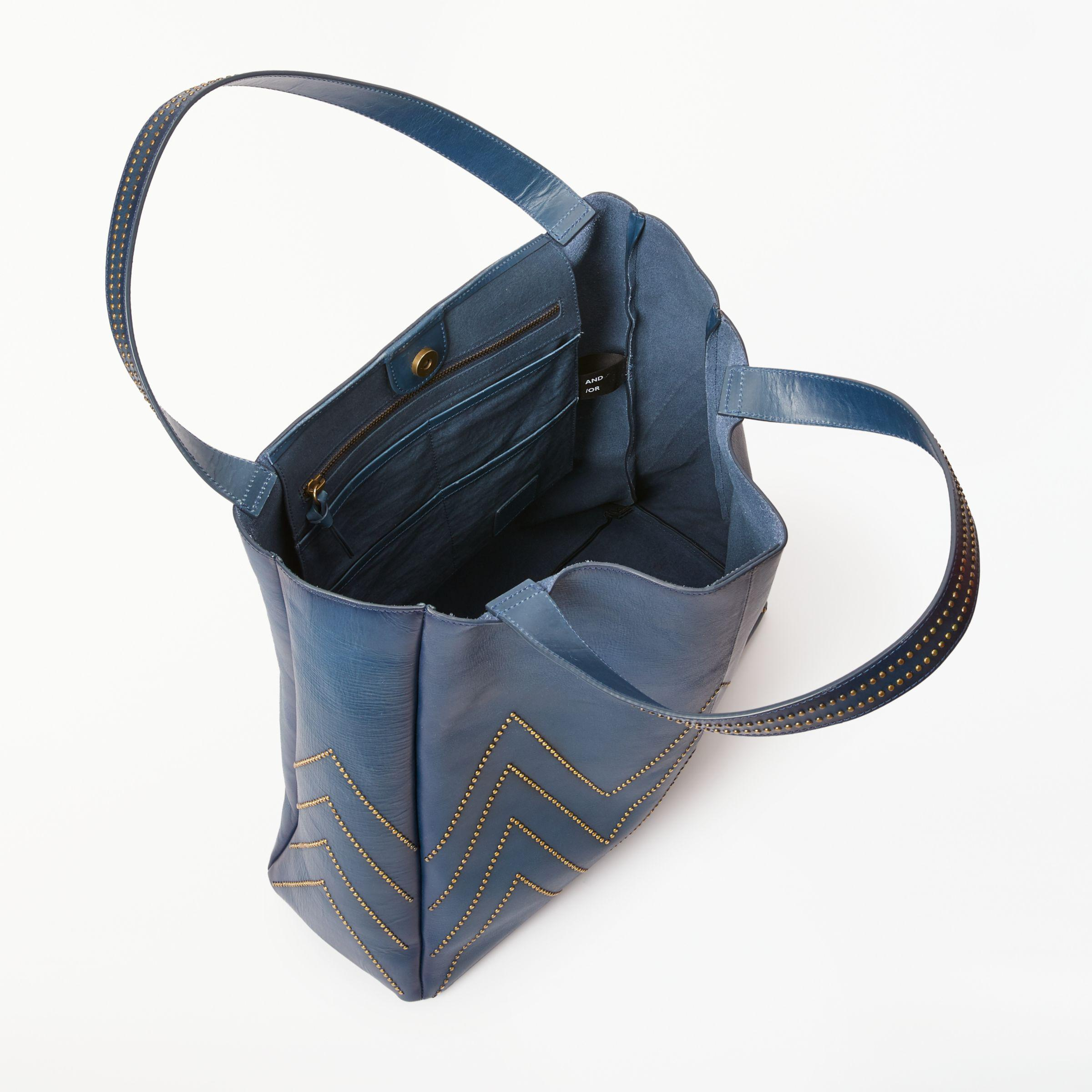 John Lewis And or Isabella Leather Stud Shoulder Tote Bag in Blue - Lyst 4678f88658abd