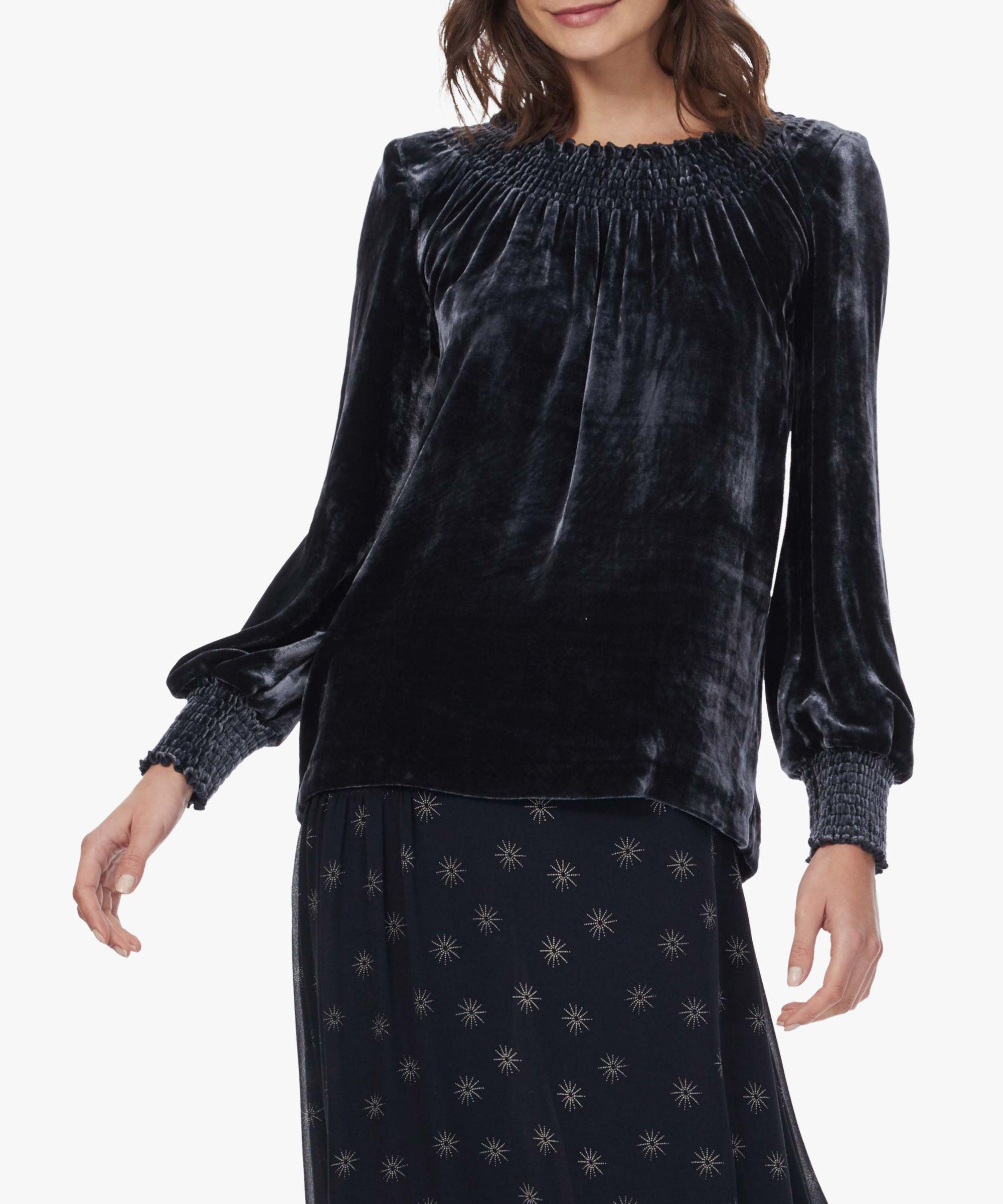 9743f85d9a6c7 Brora Velvet Smocked Long Sleeve Top in Blue - Lyst