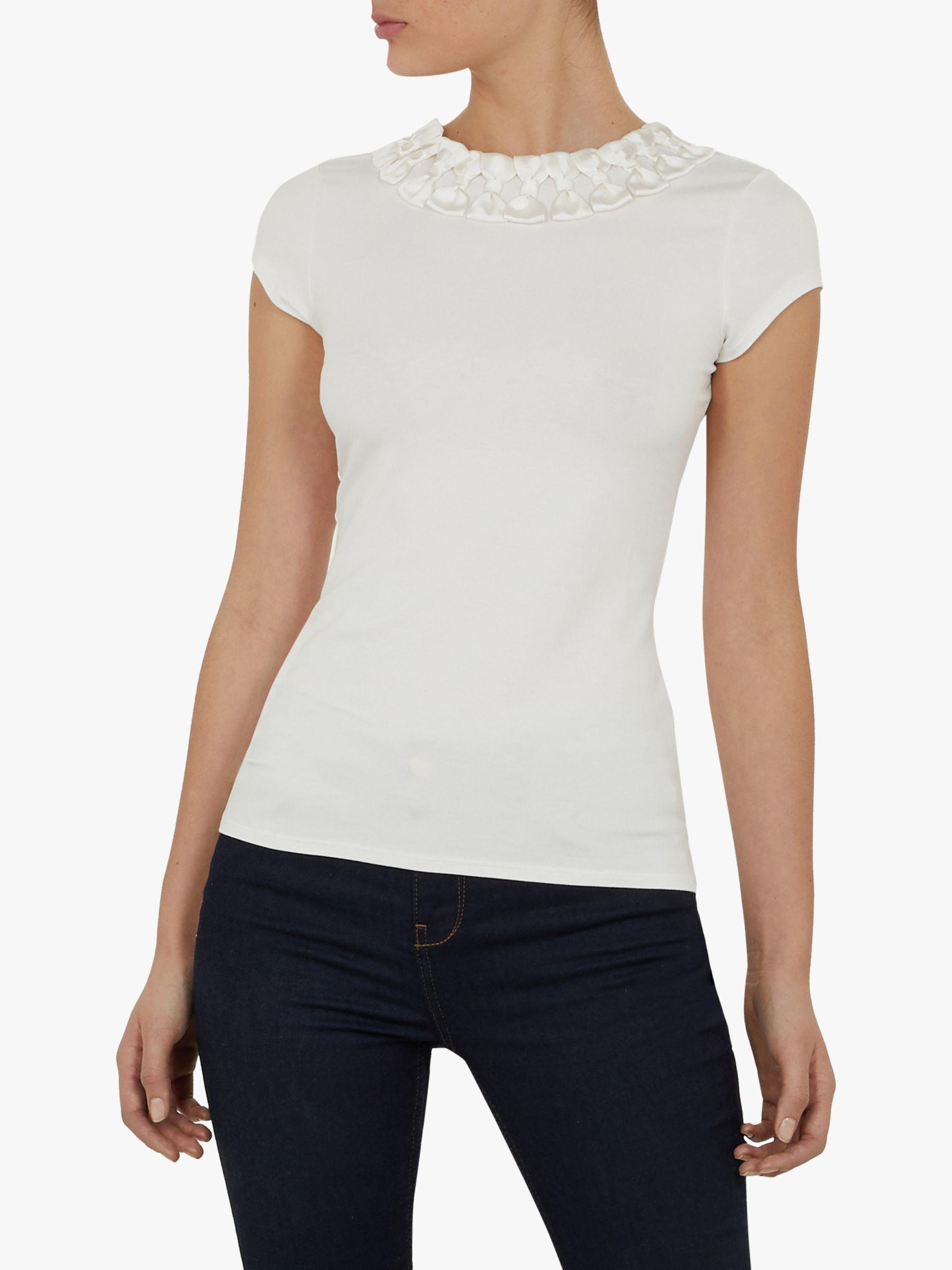 429a2acb489ae Ted Baker Charre Bow Neck Fitted Top in White - Lyst