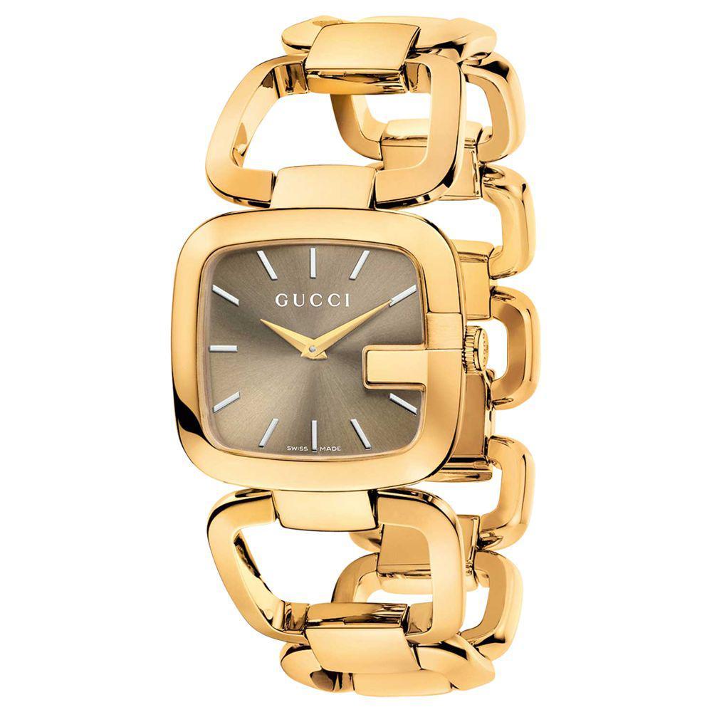 274d447b19a Gucci - Brown Ya125408 Women s G- Gold Plated Bracelet Strap Watch - Lyst.  View fullscreen