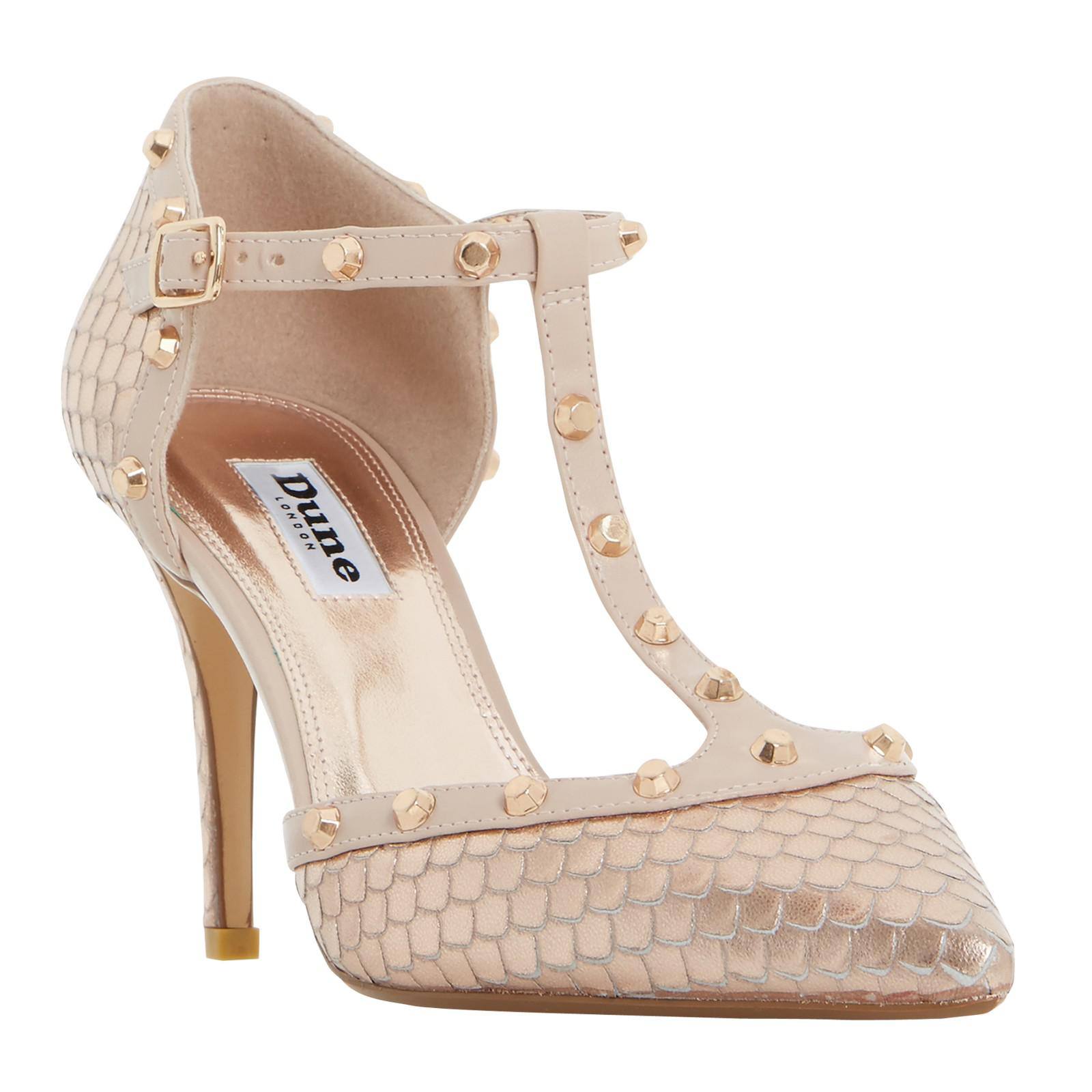 3539fbb6ed28 Dune Cliopatra Studded T-bar Court Shoes - Lyst