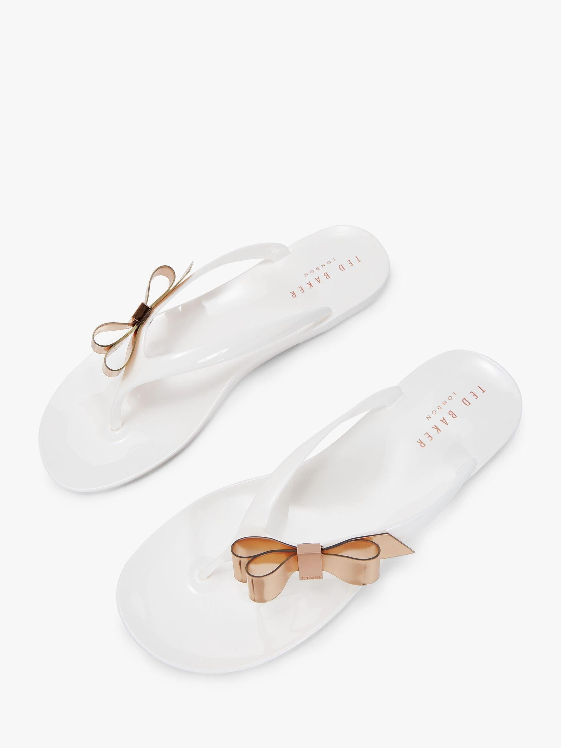 c13a18a9ddf2 Ted Baker Bow Detail Jelly Flip Flops in White - Lyst