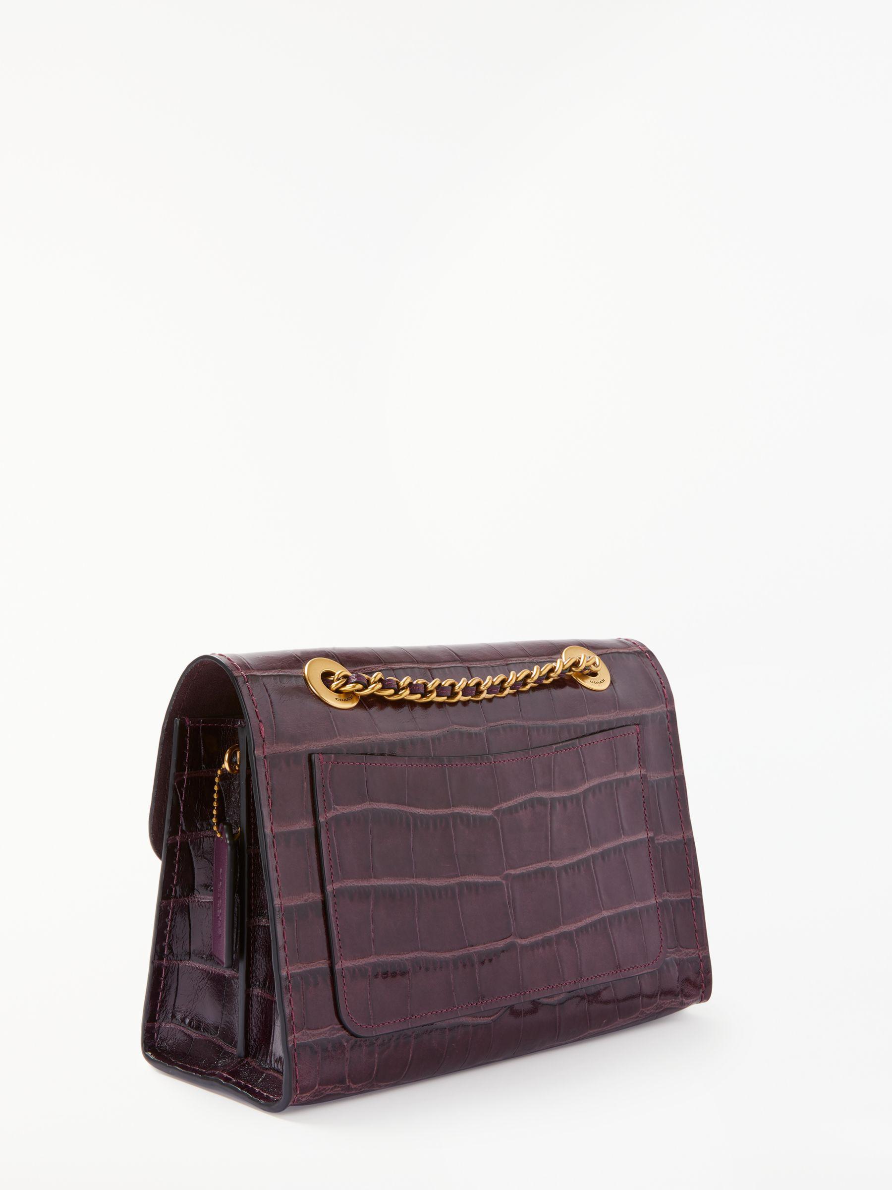 a686de3d1c36 COACH Embossed Croc Parker Leather Shoulder Bag in Purple - Lyst