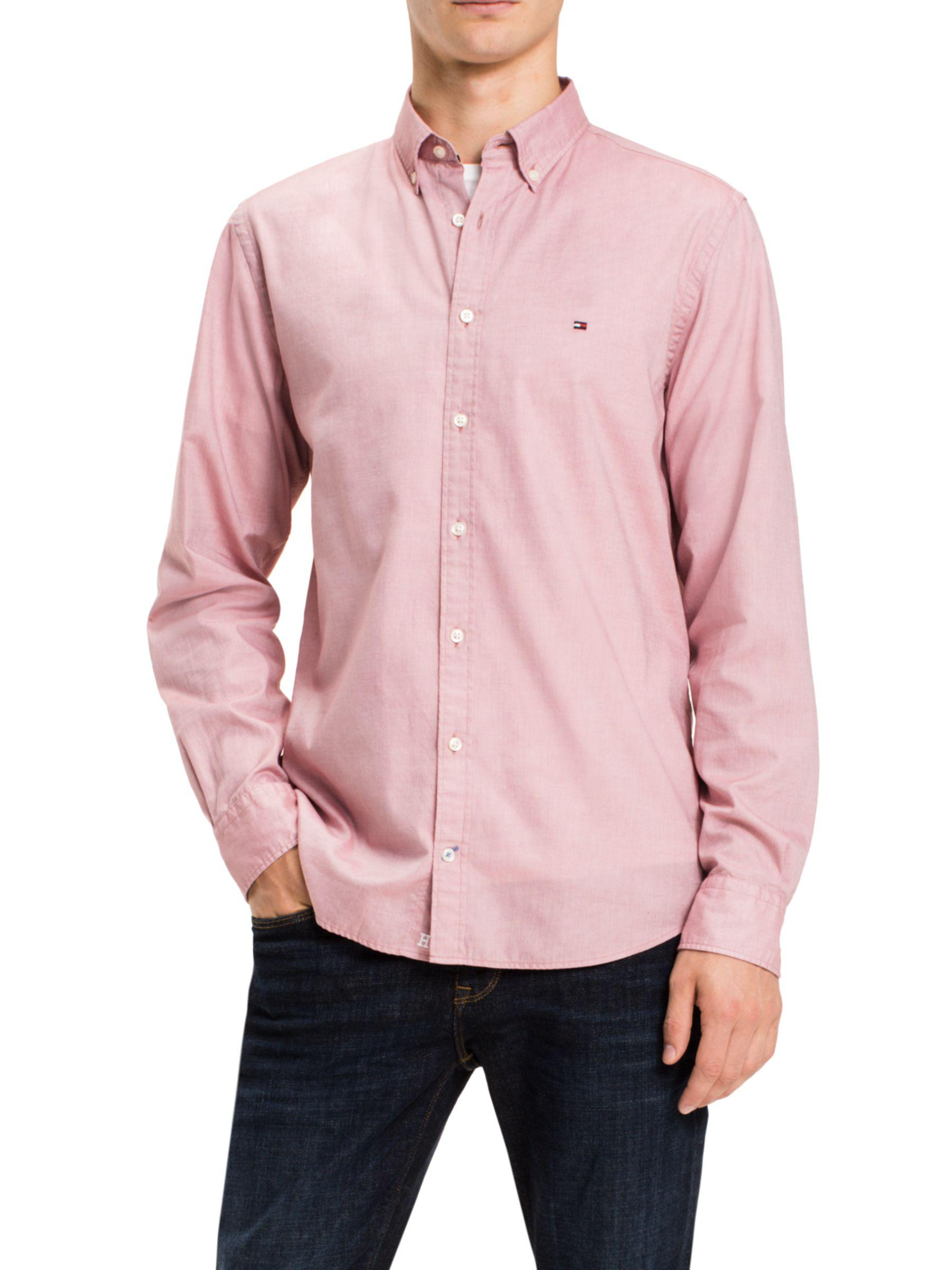 2651b9ea Tommy Hilfiger Two Tone Dobby Shirt in Pink for Men - Lyst
