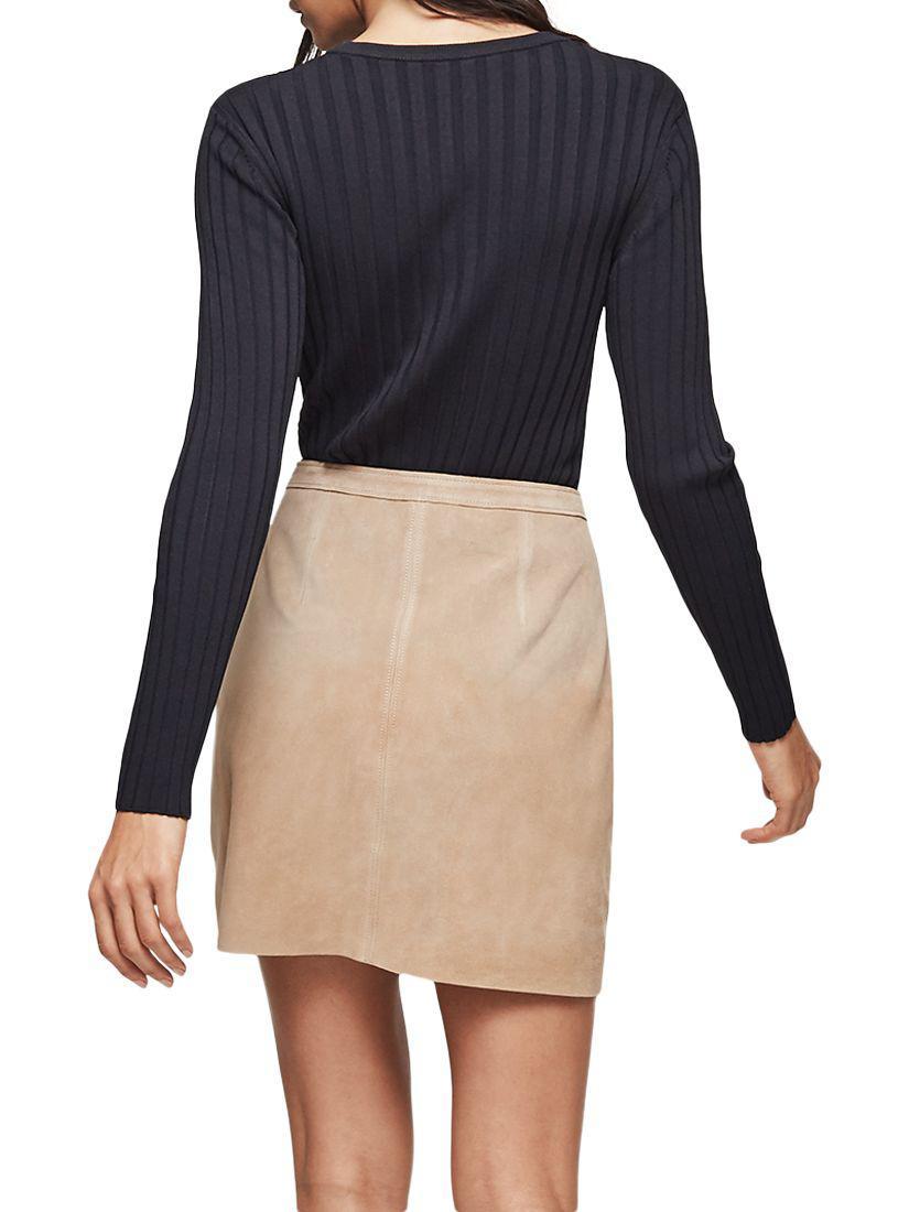 e2cdbb420 Reiss Keaton Suede Mini Skirt in Blue - Lyst