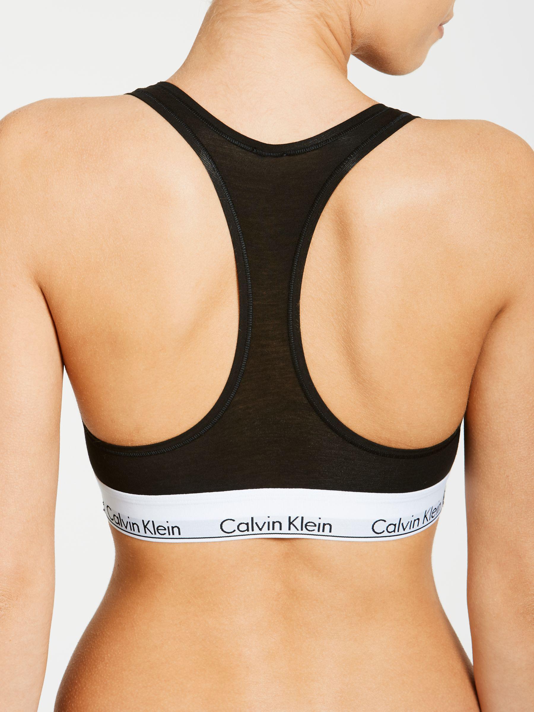 2f109ff84b2204 Calvin Klein Modern Cotton Racerback Bralette in Black - Lyst