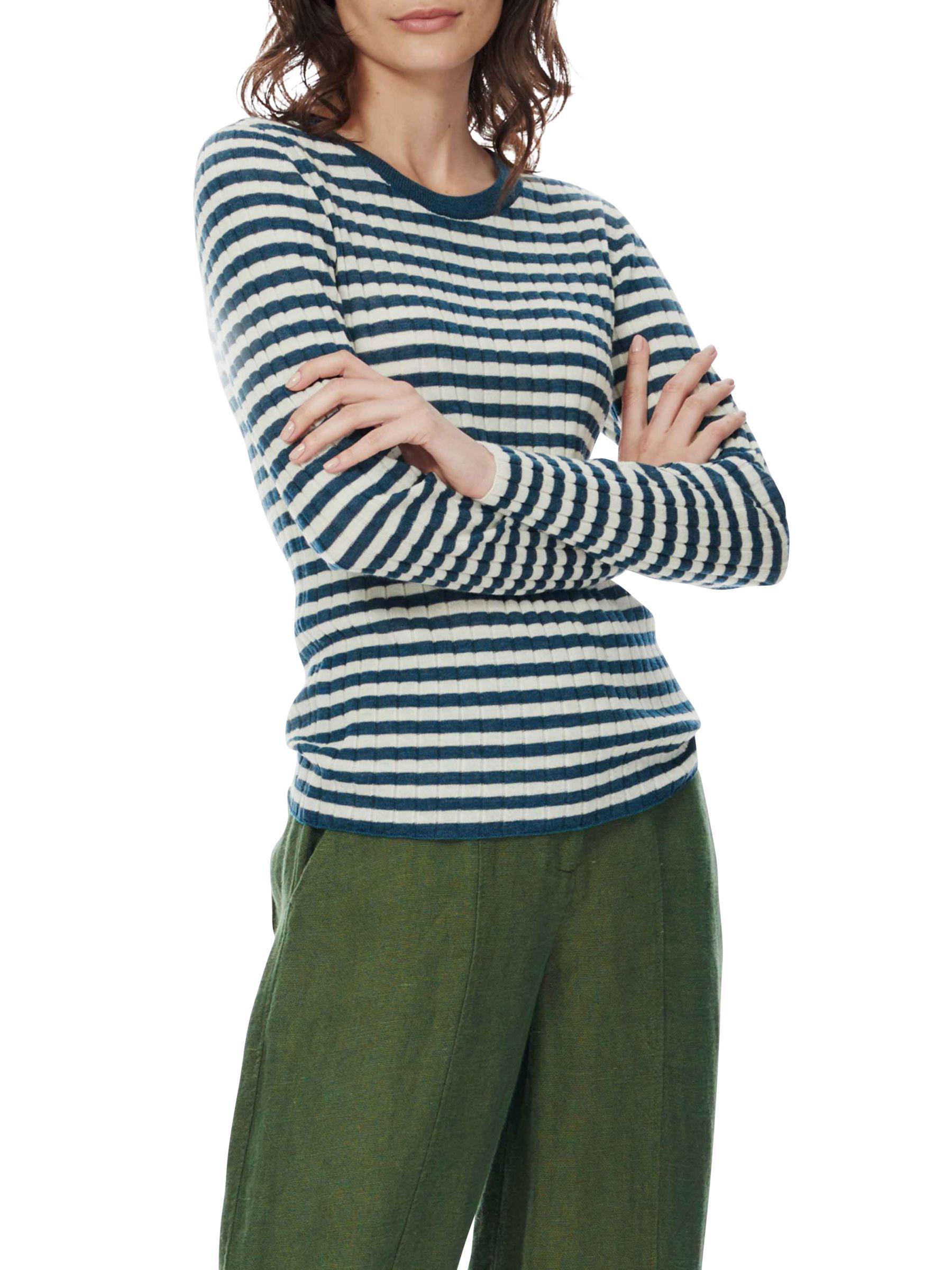 8110b1ec50c Brora Stripe Merino Wool Jumper in Blue - Lyst