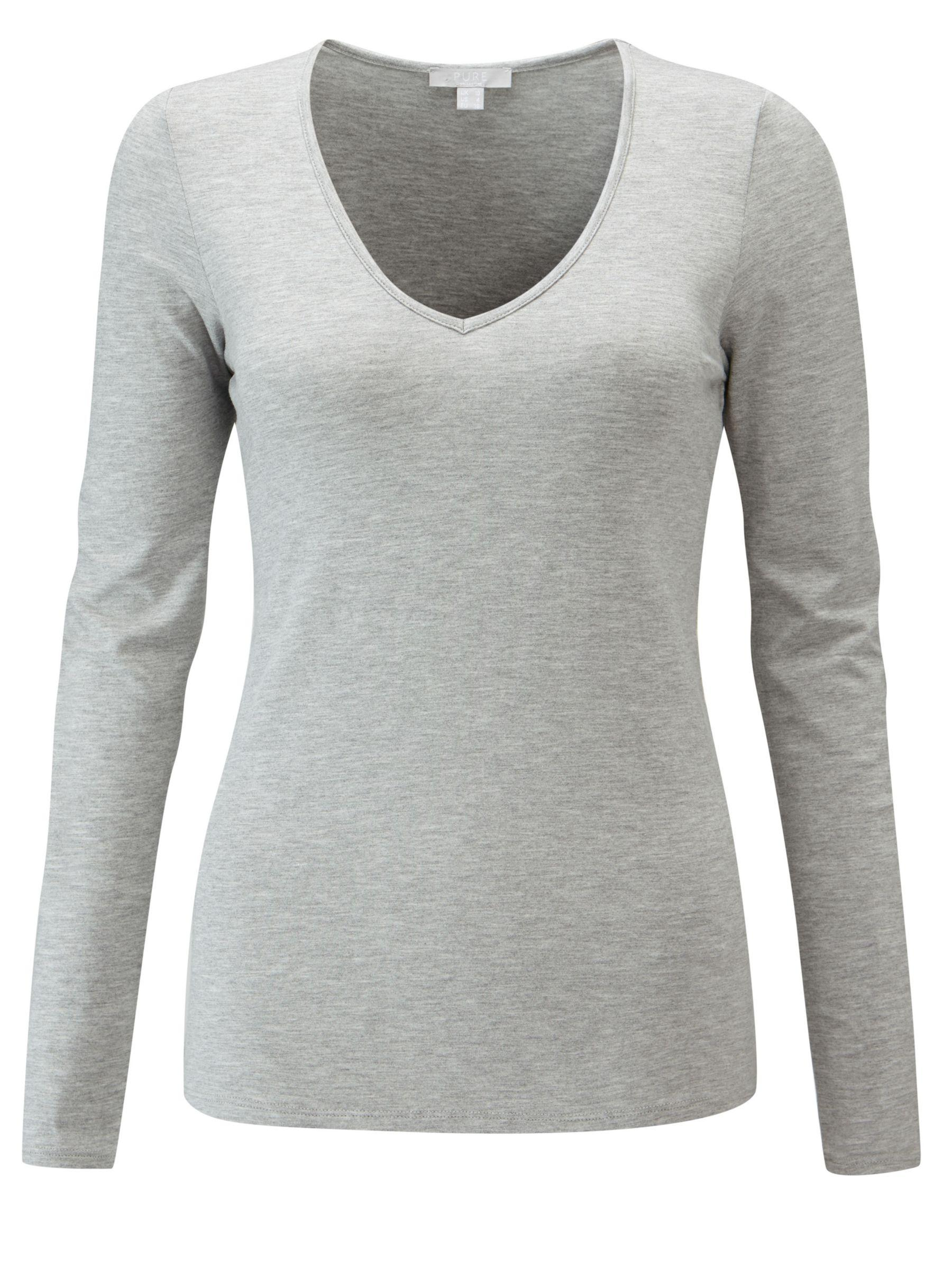 c713ef472d228c Pure Collection Soft Jersey V-neck Top in Gray - Lyst