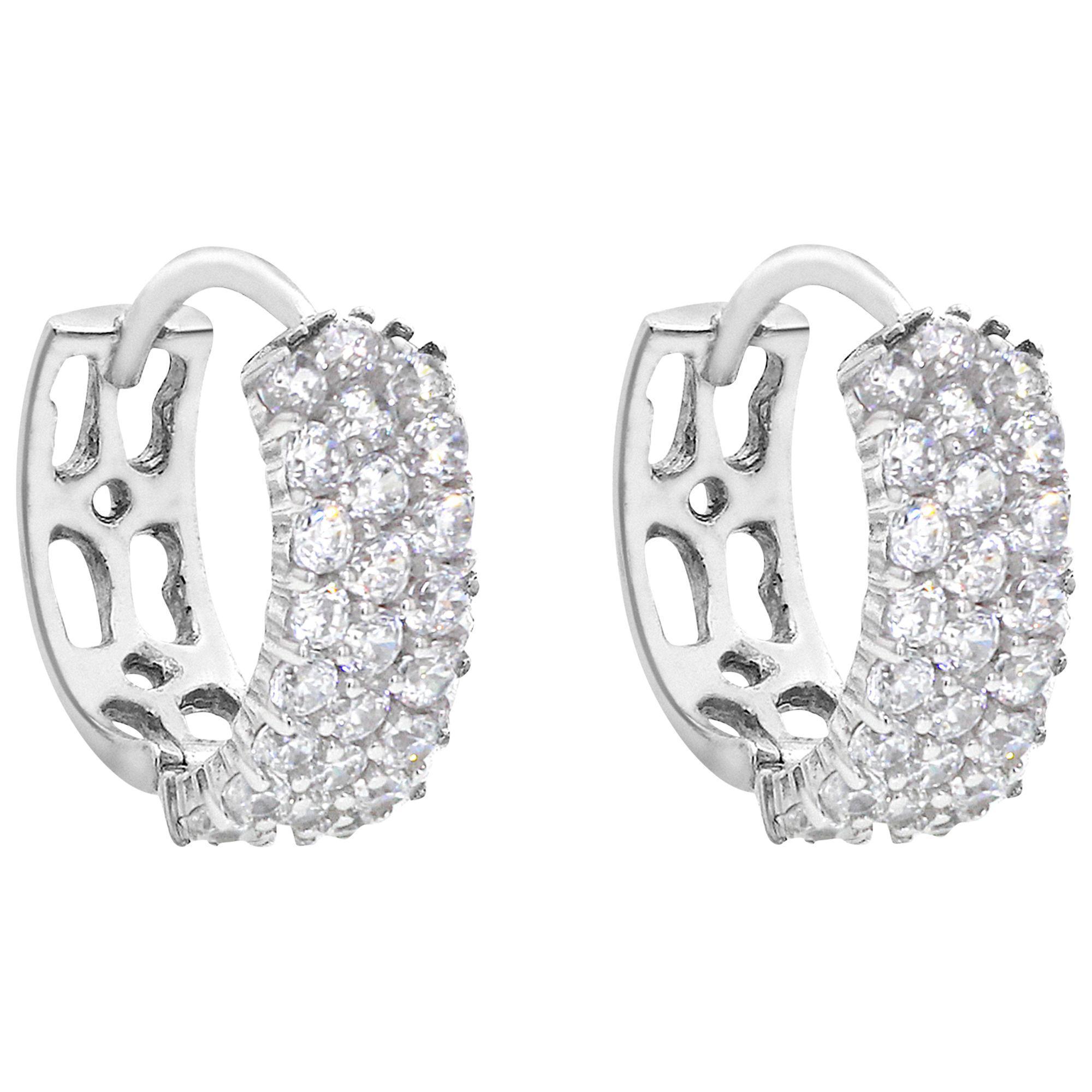 Ib B Women S Metallic 9ct White Gold 3 Row Cubic Zirconia Hoop Earrings