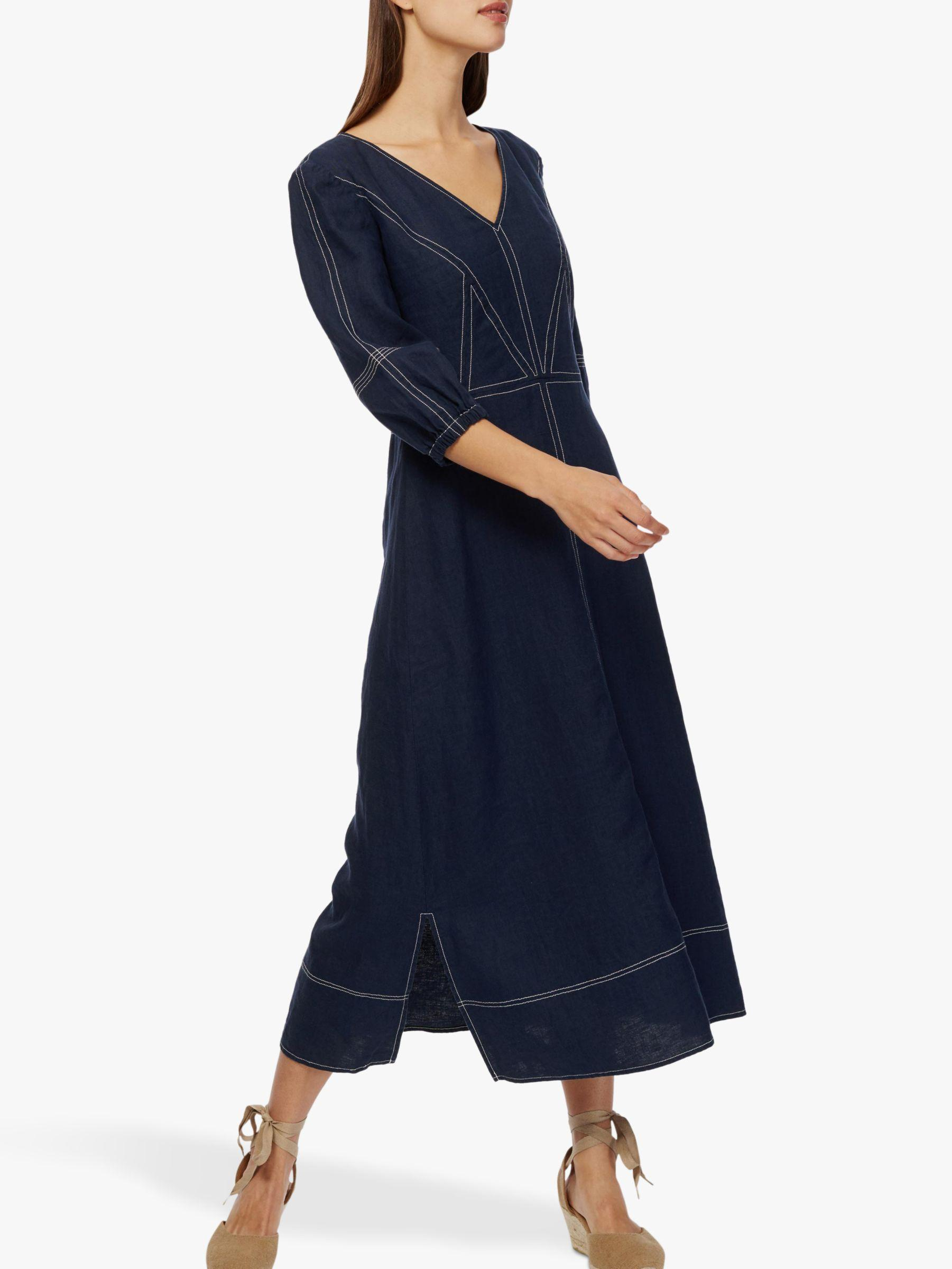 faf560f1d43 Brora Linen Contrast Stitch Dress in Blue - Lyst