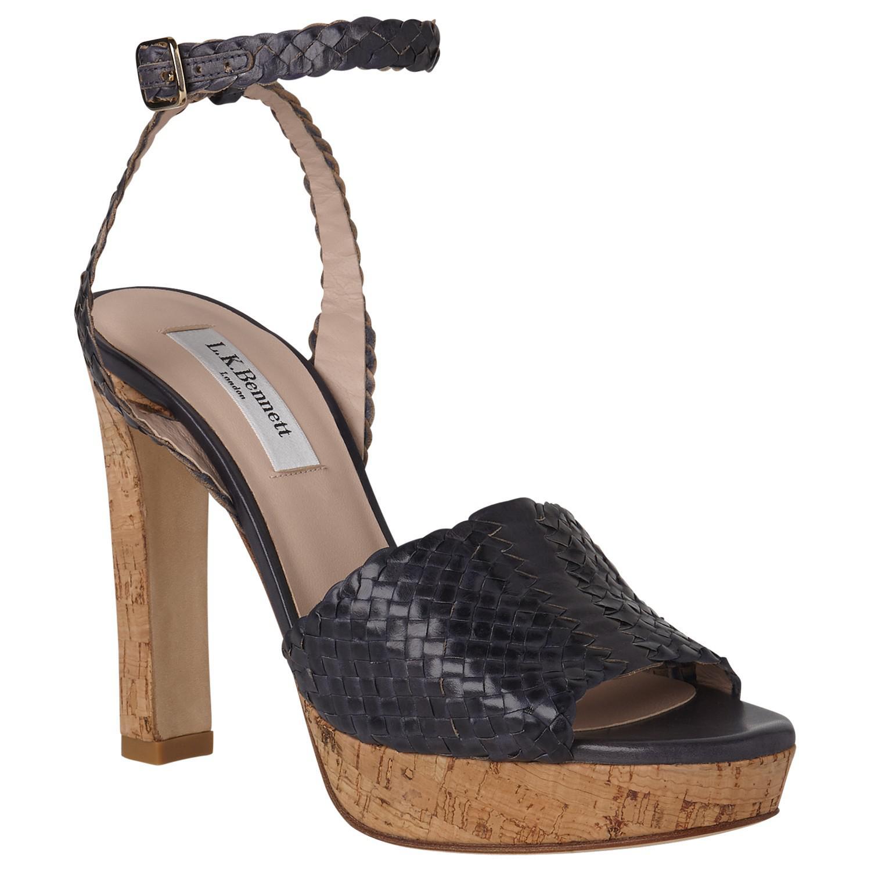2c3354e43f9c L.K.Bennett Margot Block Heeled Sandals in Blue - Lyst