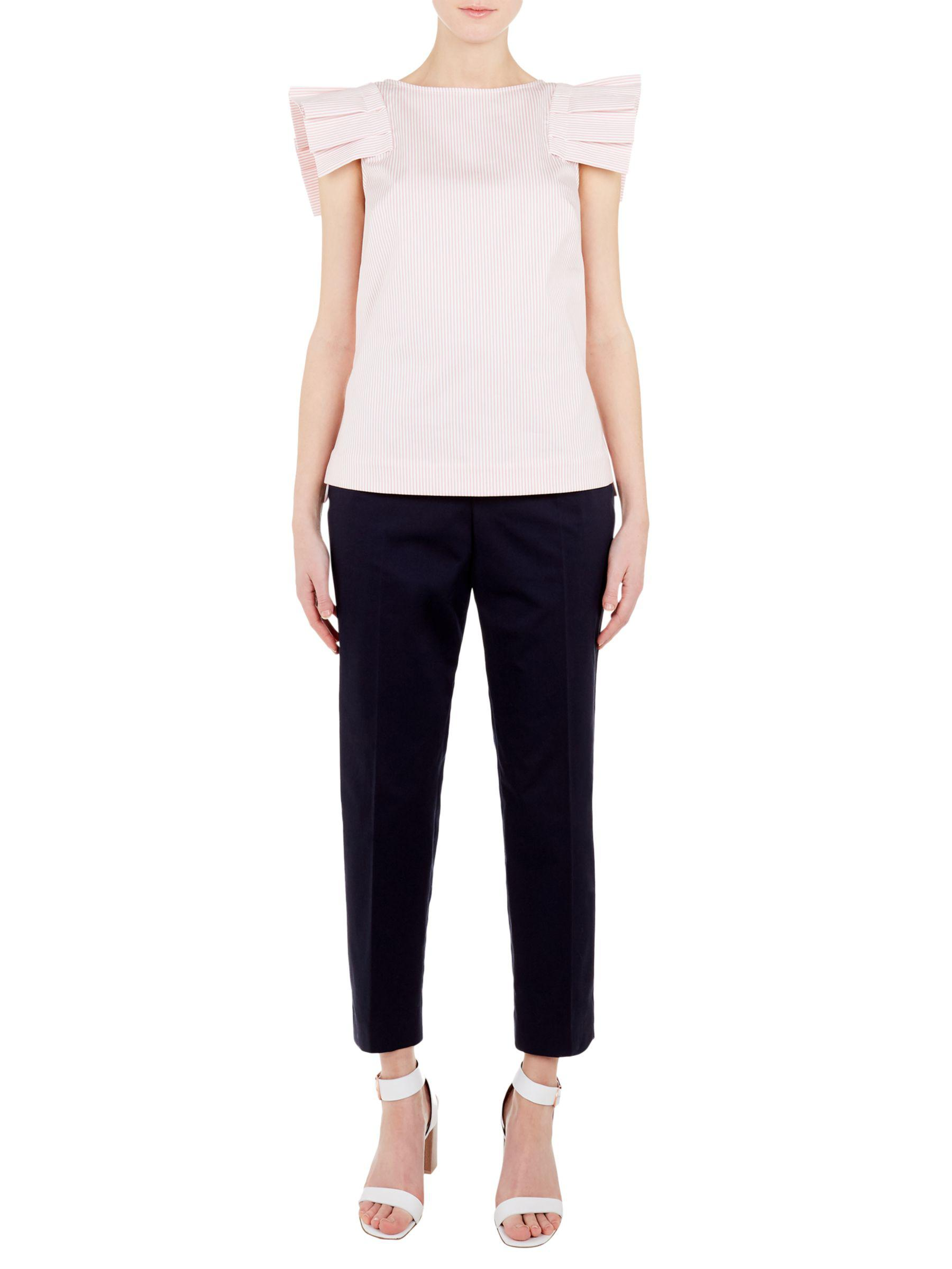 9d1dd6bcb10013 Ted Baker Frill Shoulder Top in Pink - Lyst