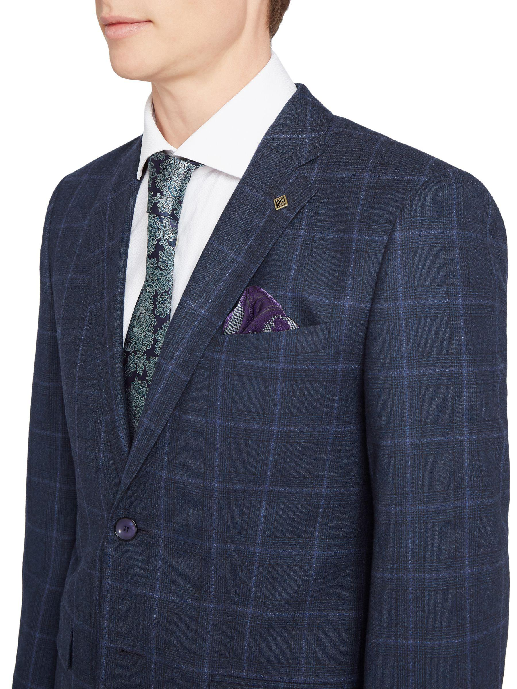 6cffe11dadcd Ted Baker Stefanj Check Tailored Suit Jacket in Blue for Men - Lyst