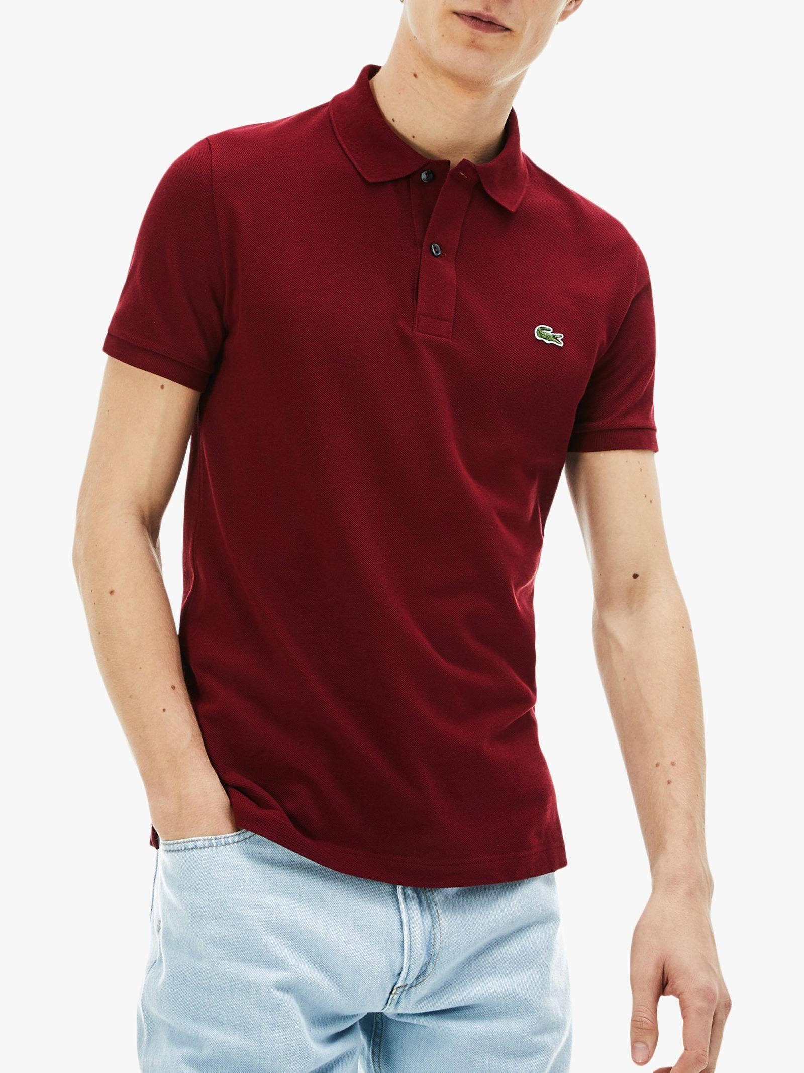 Lacoste Classic Slim Fit Short Sleeve Polo Shirt in Red for Men - Lyst 835d7da02