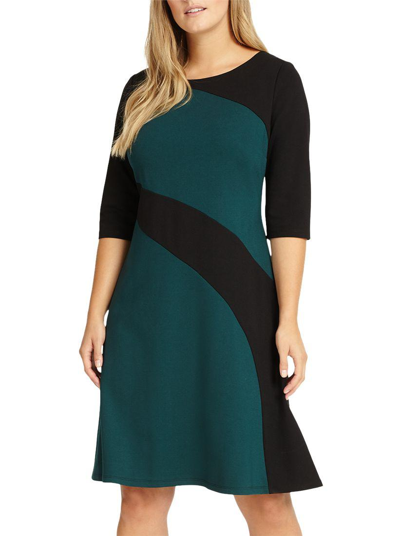 3ce5c7b3214d Studio 8 Sizes 12-26 Green And Black Alicia Dress in Green - Save 16 ...