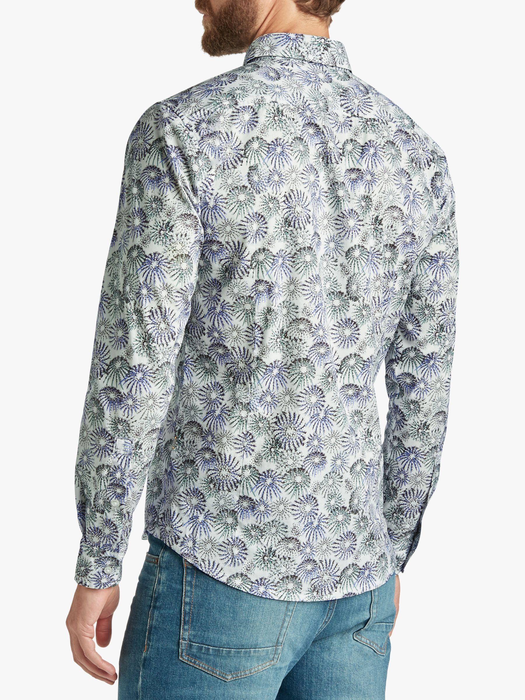 afb7f9ff7 BOSS Boss Mypop Print Slim Fit Shirt in White for Men - Lyst