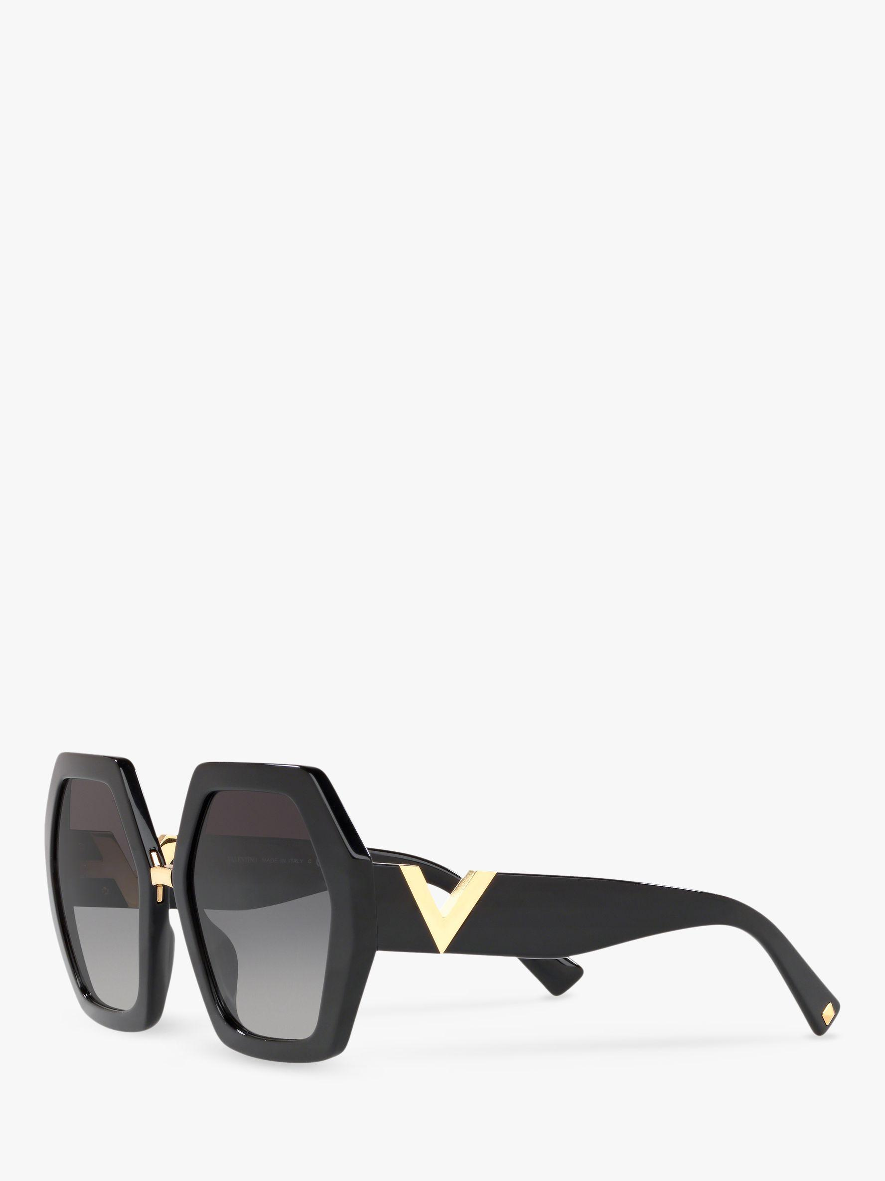 9b040f1995f0f Valentino Va4053 Women s Hexagonal Statement Sunglasses in Black - Lyst