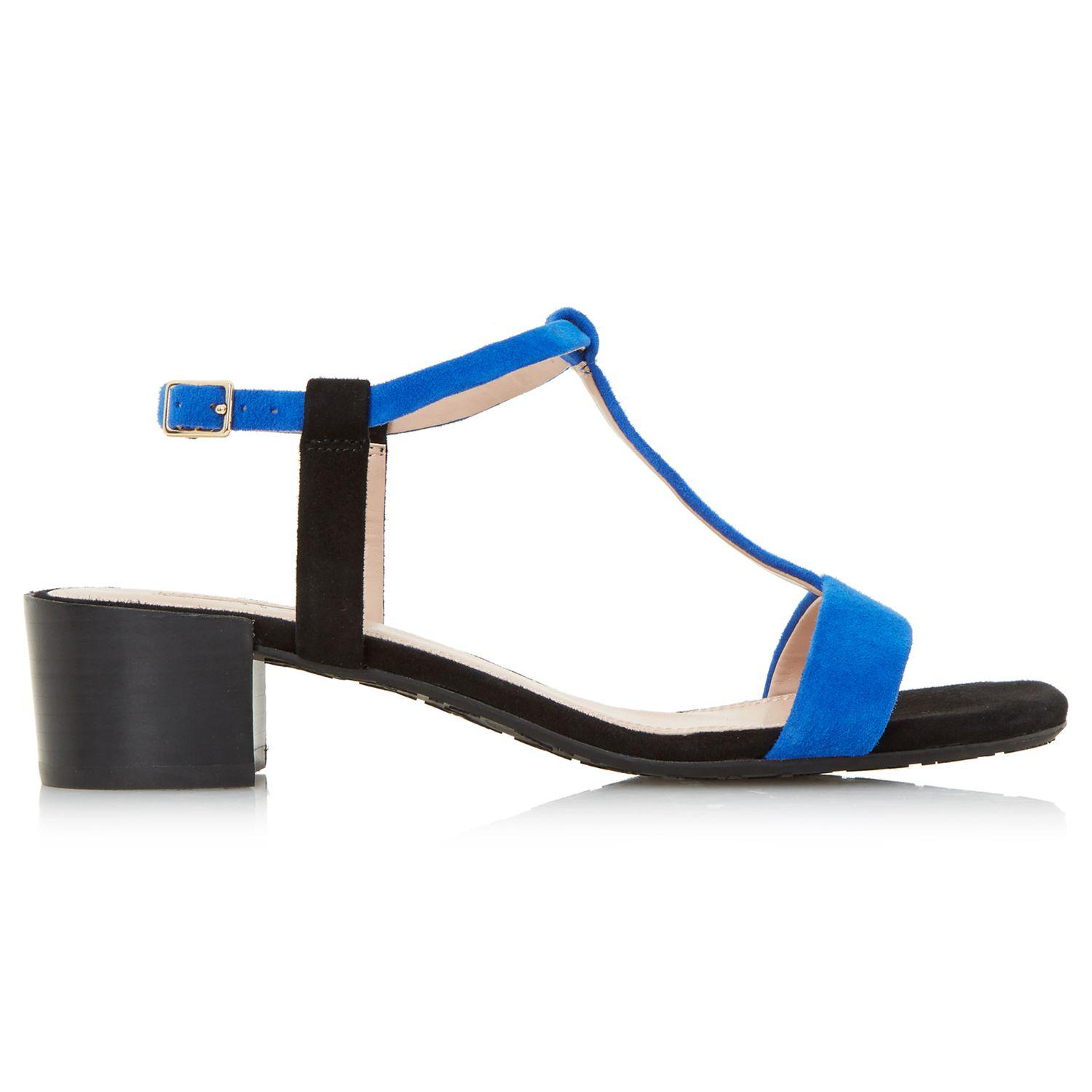 Dune Issie T-bar Block Heeled Sandals in Blue - Lyst