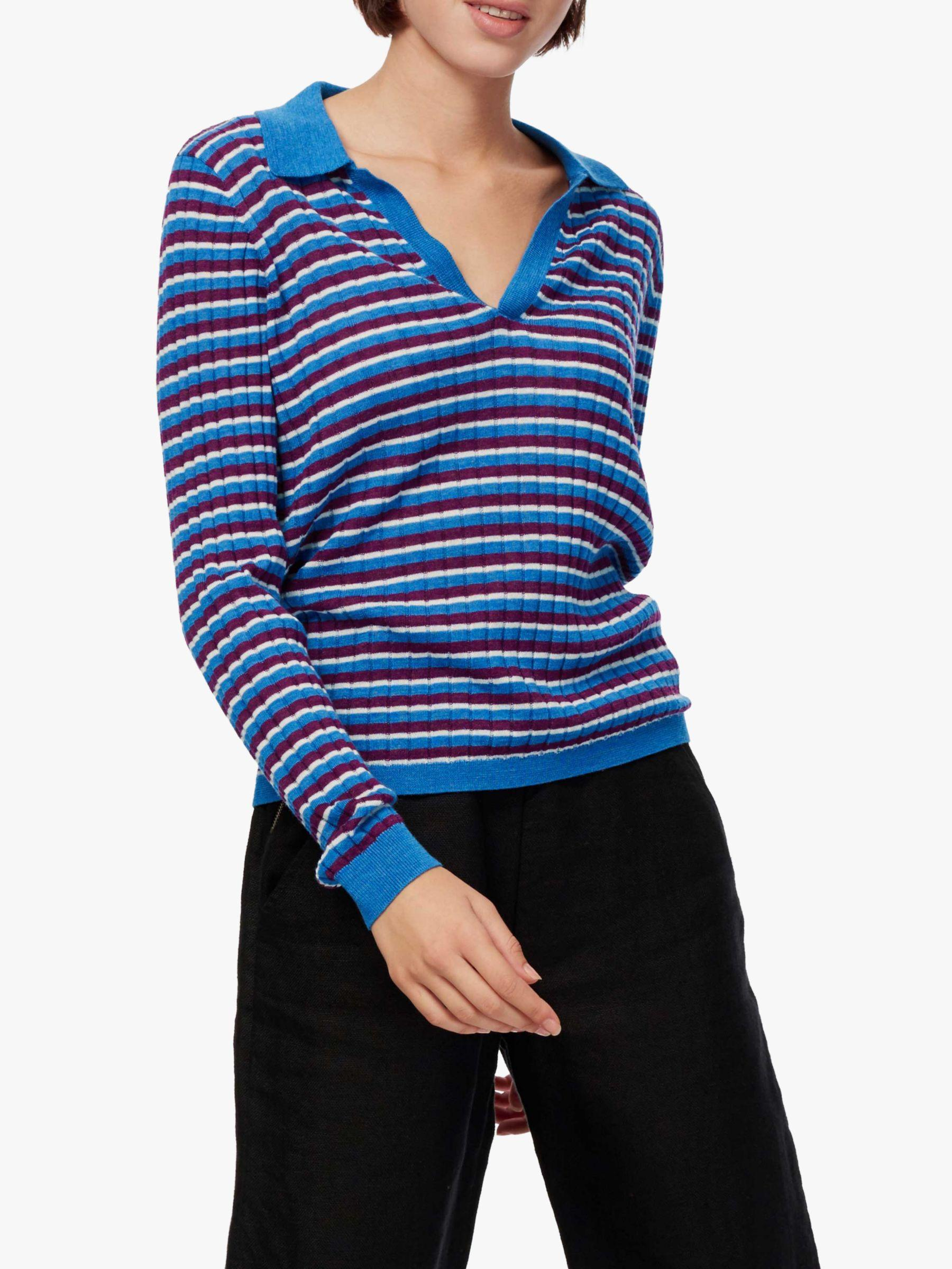 7835cf908a0374 Brora Merino Wool Stripe Polo Shirt in Blue - Lyst