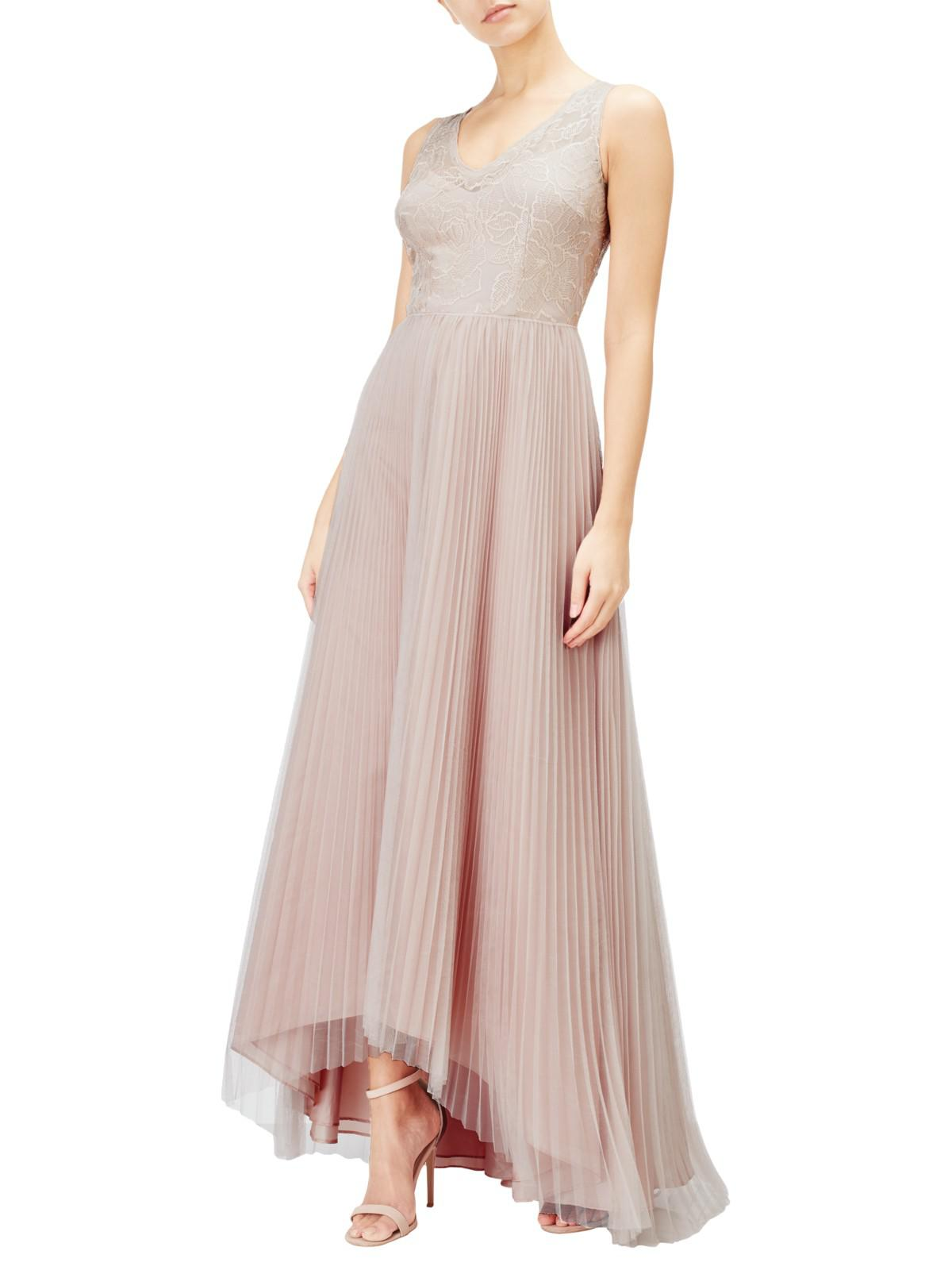 adrianna papell Blush Pink Sequin Lace Bodice High Low Tulle Dress