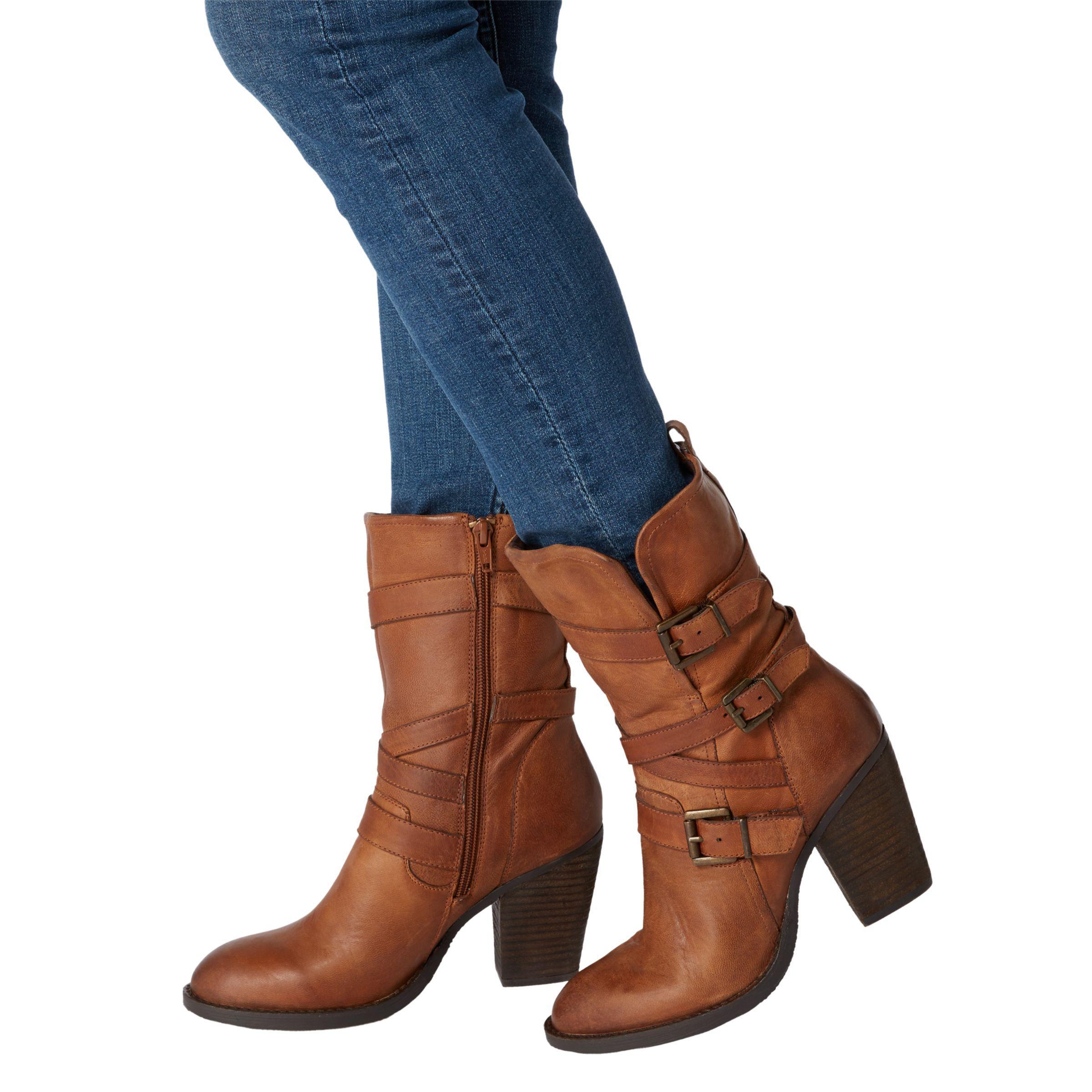 40b4566b256 Steve Madden Wen Block Heeled Calf Boots in Brown - Lyst